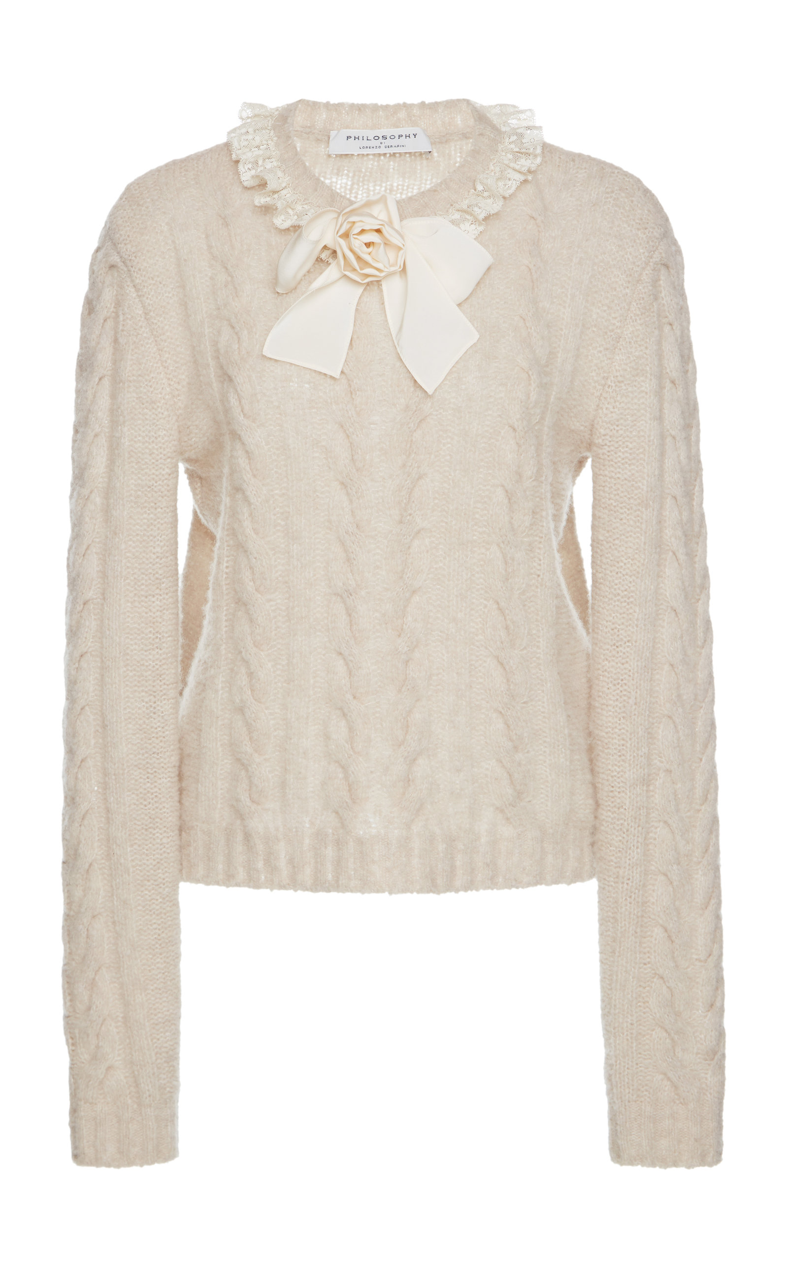 88b75615e12102 Bow Cable Knit Sweater by Philosophy di Lorenzo Serafini | Moda Operandi