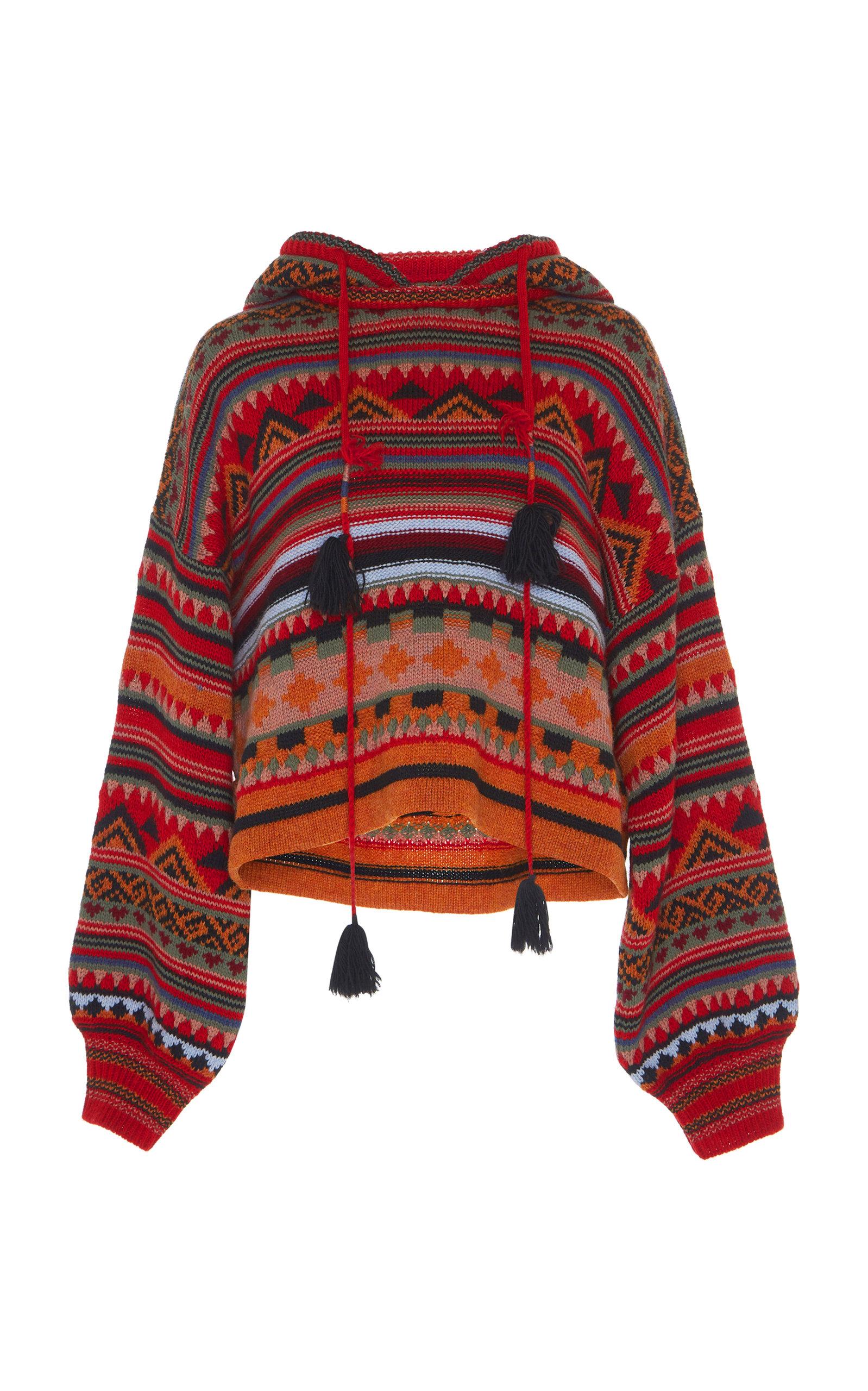 Tasseled Wool-Blend Jacquard Hoodie, Brown