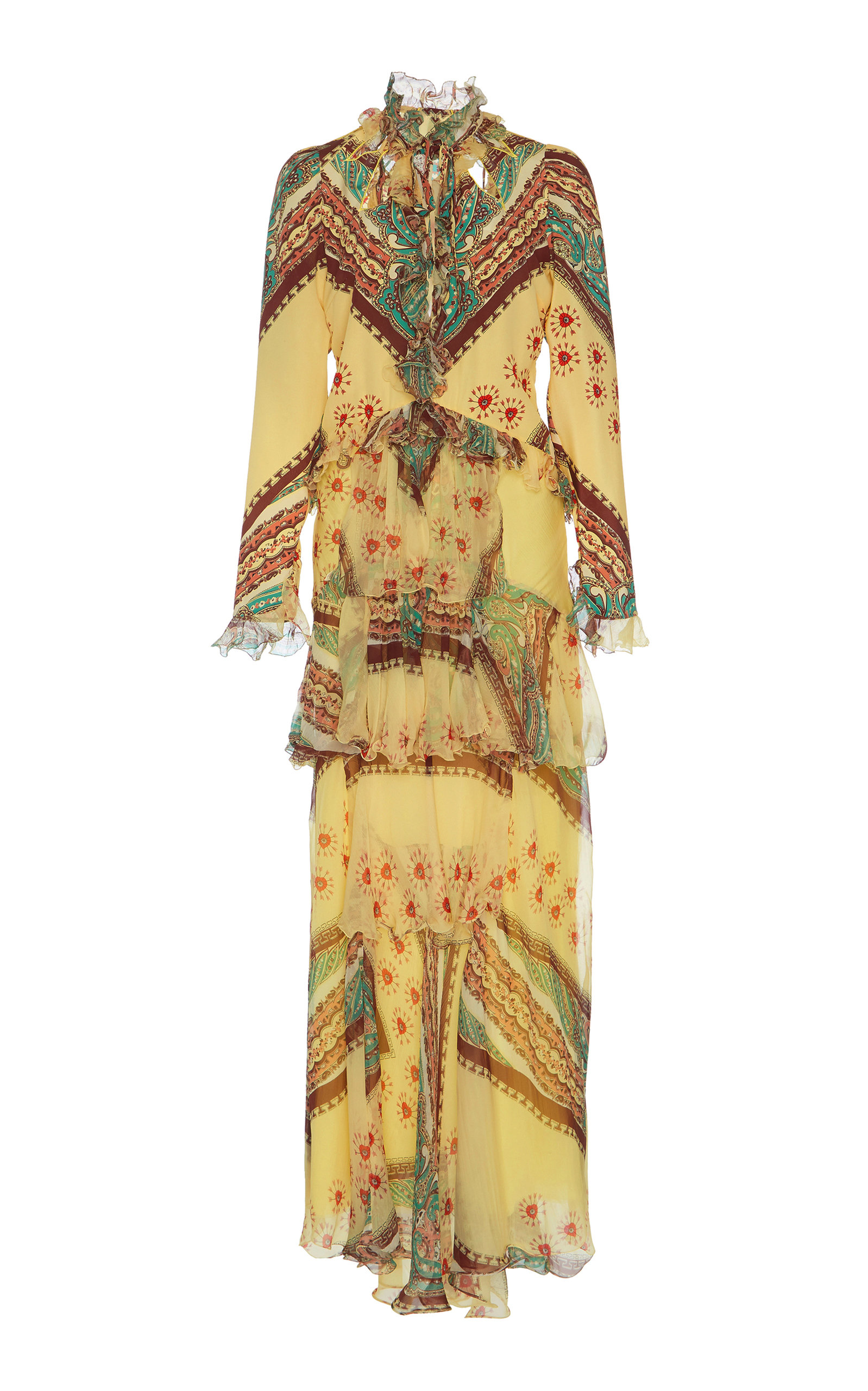 Ruffled Printed Silk-Crepon And Crepe De Chine Maxi Dress in Yellow
