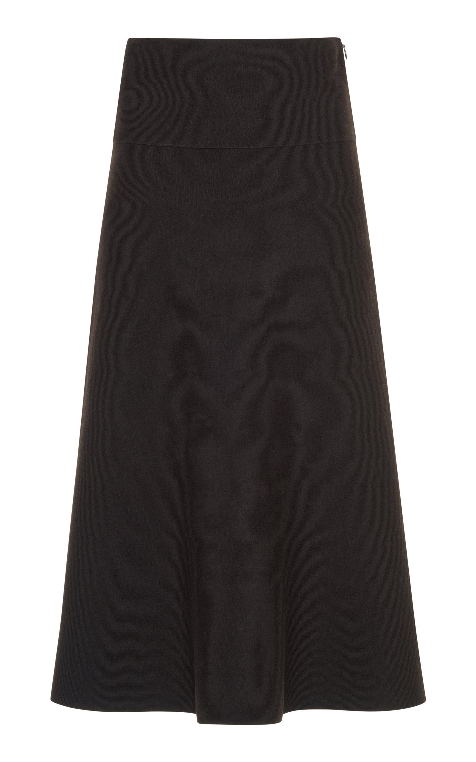 AGNONA Extra Fine Merinos Full Needle Skirt in Brown
