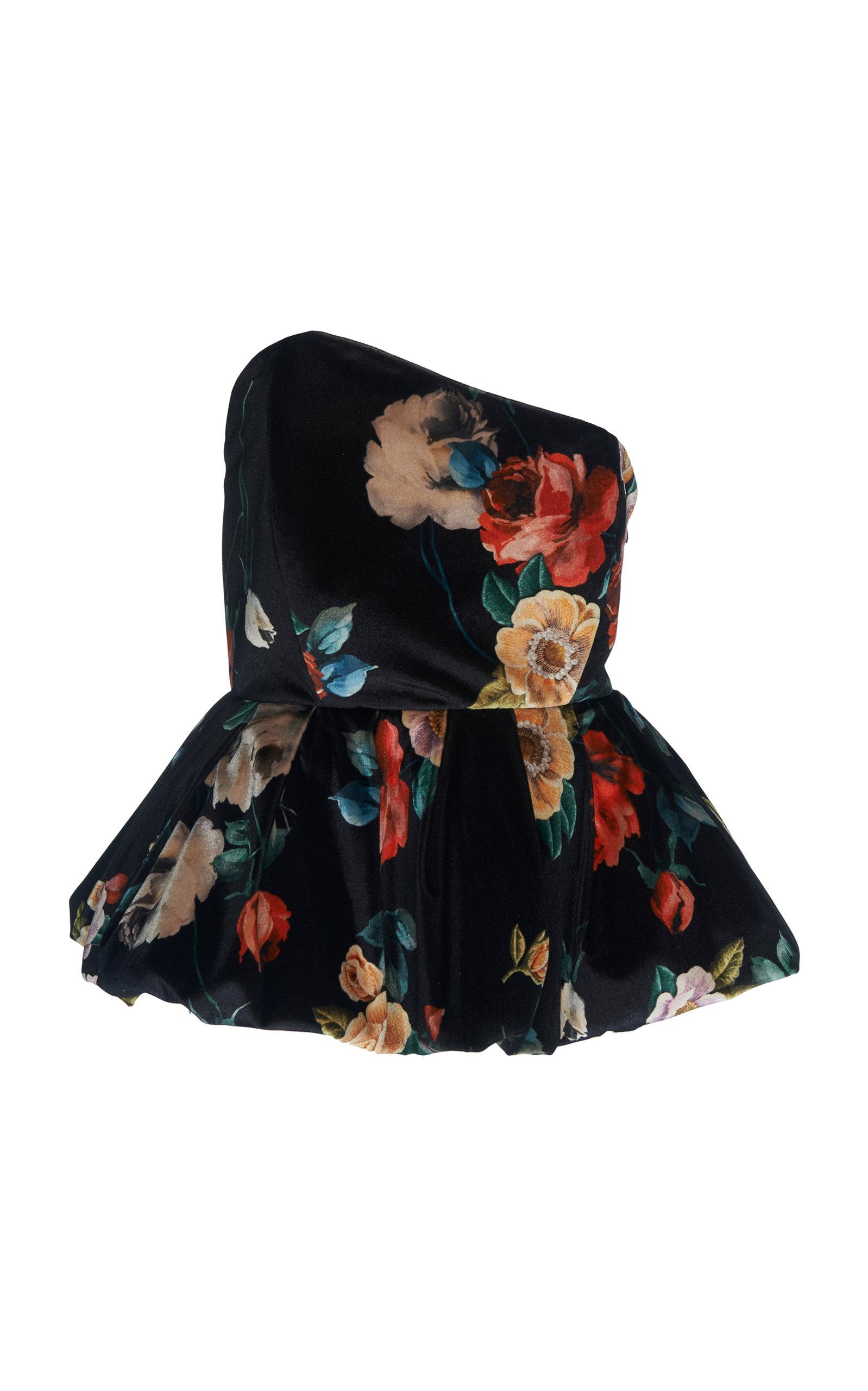 Asymmetric Floral-Print Velvet Peplum Top in Black