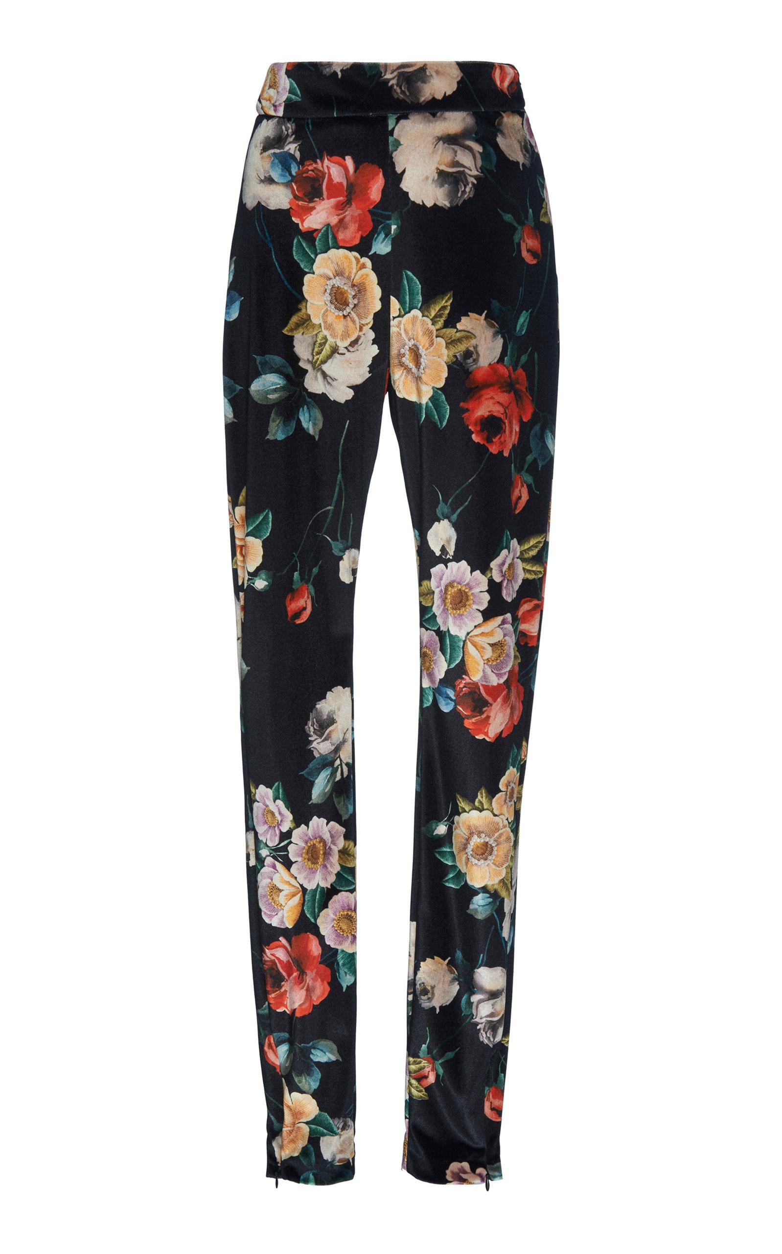 Floral-Print Stretch-Velvet Leggings