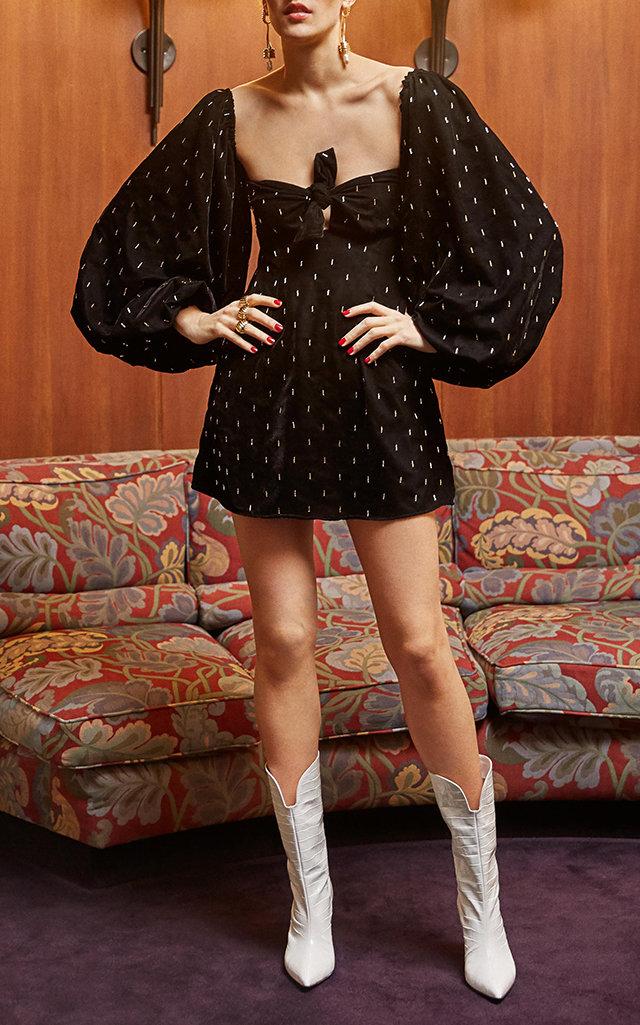 ATTICO Gold-Tone Flecked Balloon Sleeve Mini Dress in Black