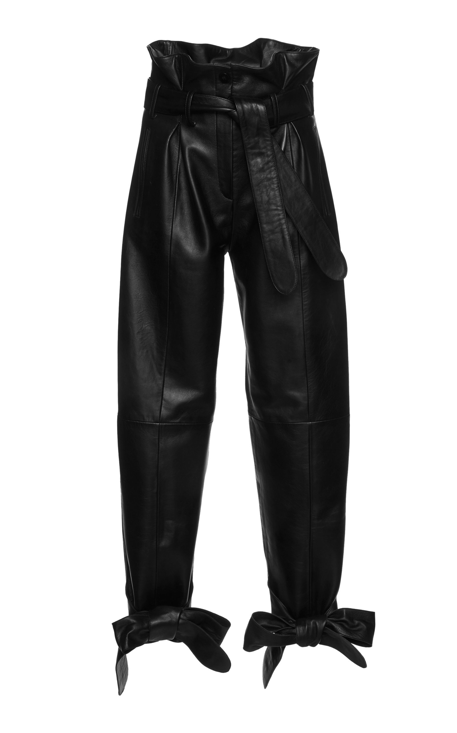 ATTICO Tie-Detailed Belted Leather Straight-Leg Pants in Black