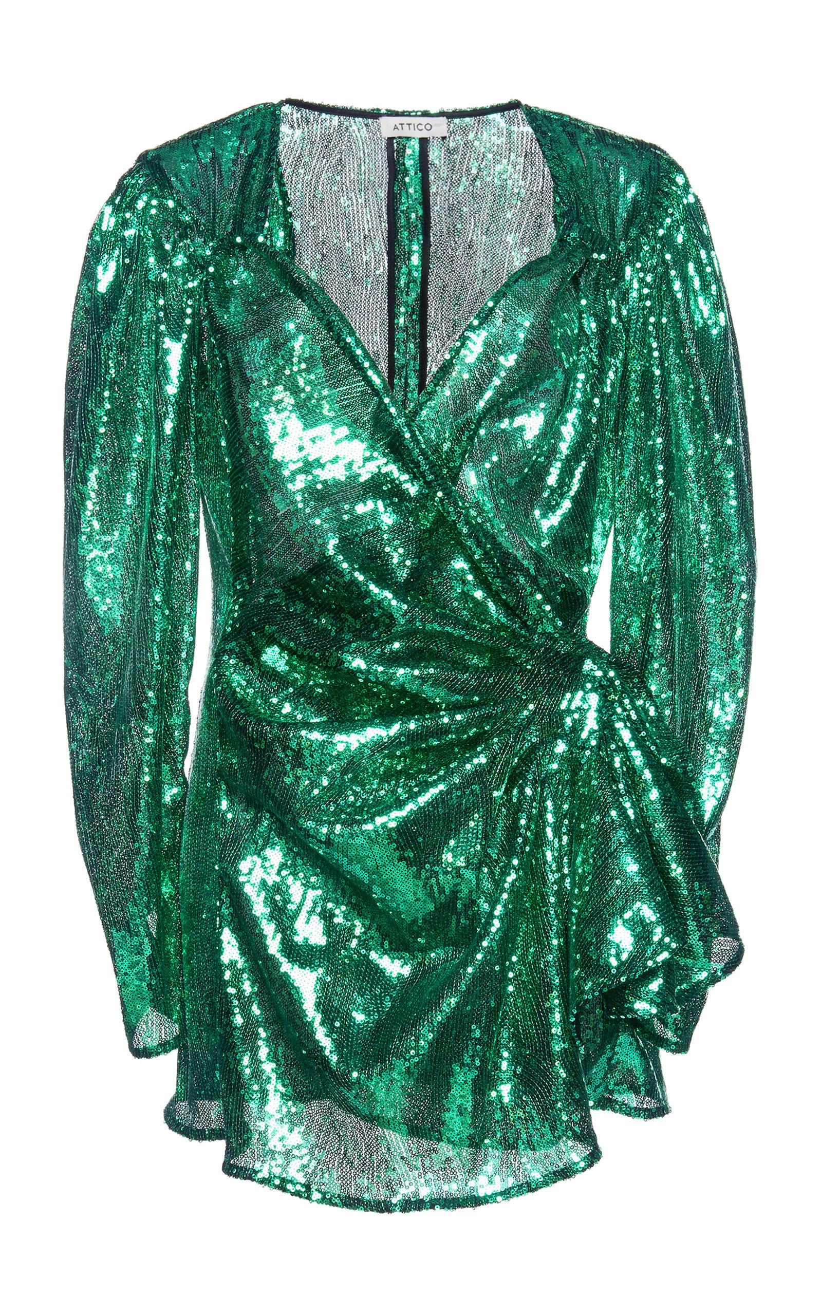 47250519c3ea Wrap-Effect Sequined-Tulle MIni Dress by Attico | Moda Operandi