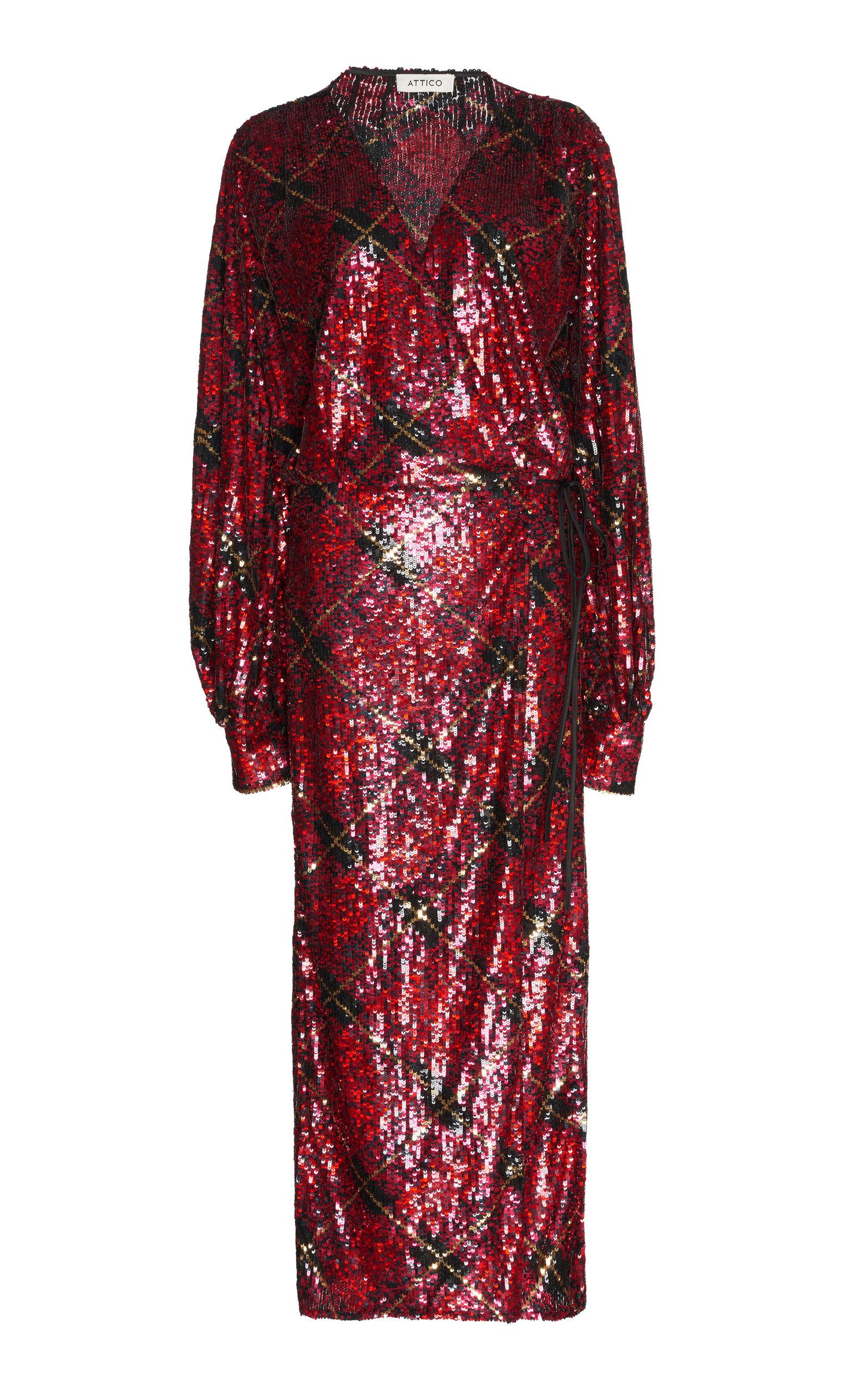 Attico Allover Sequin Robe Dress In Red Modesens