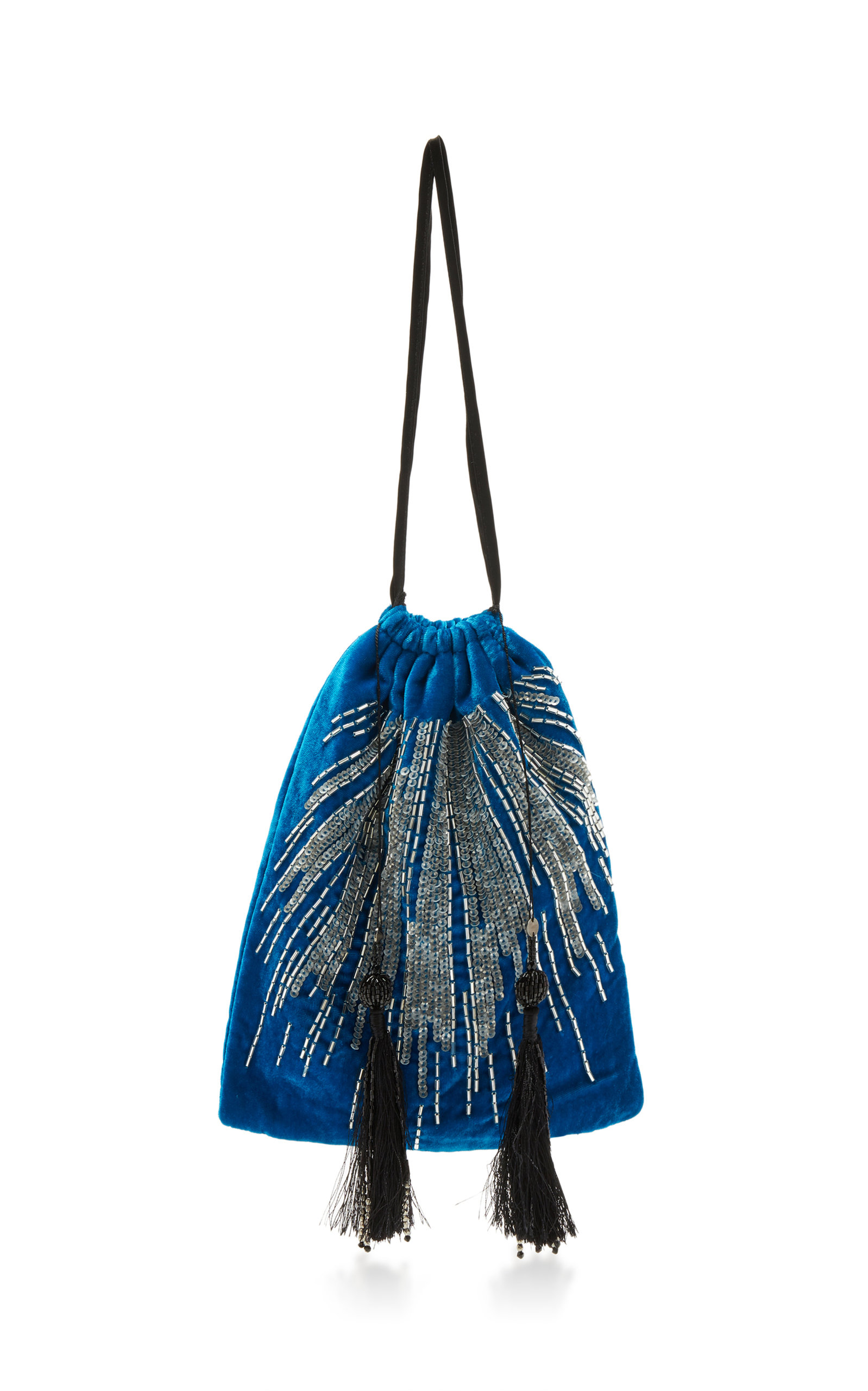 Sequin And Bead-Embroidered Velvet Bag in Blue