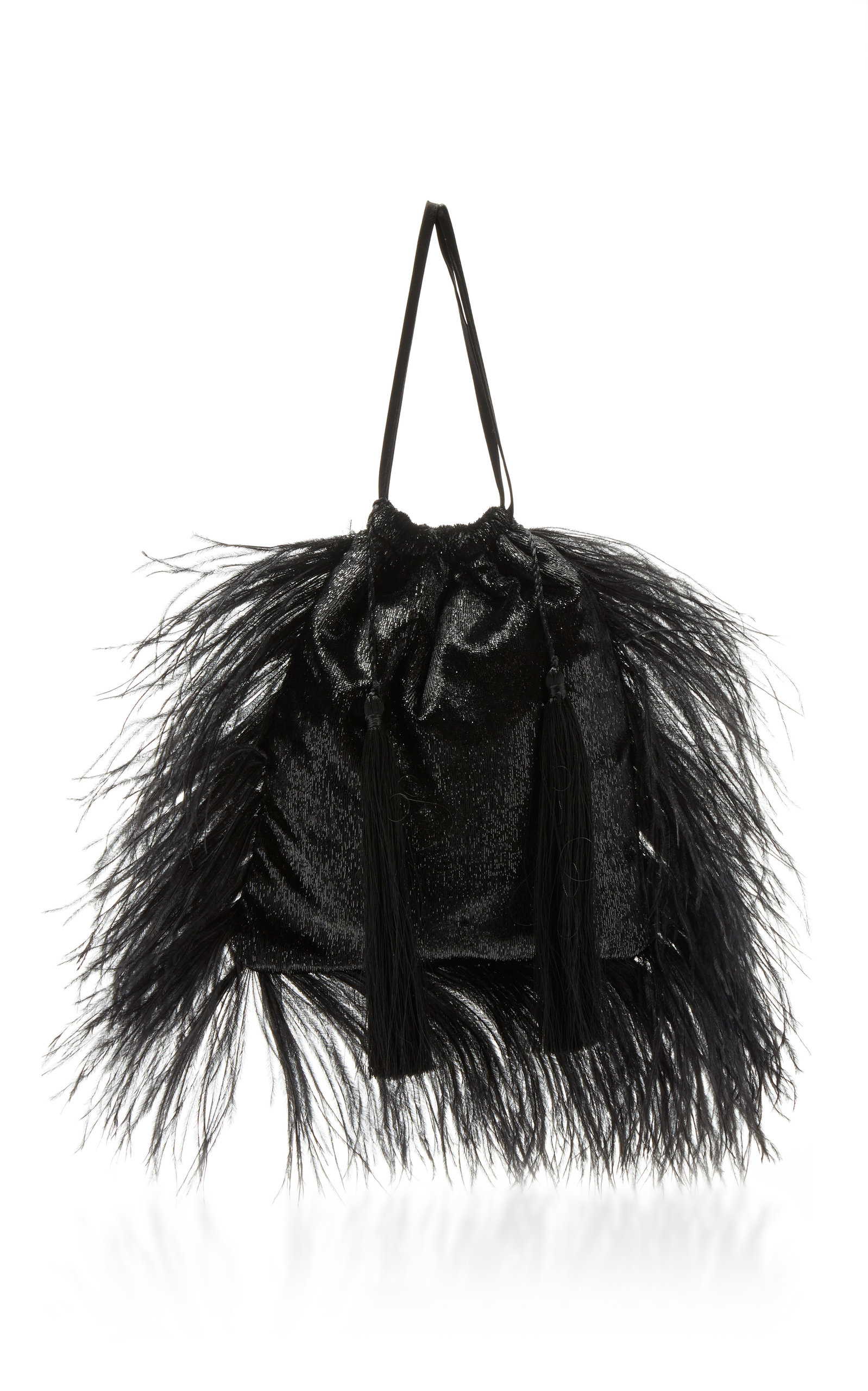 Velvet And Feathers Pouch Bag in Black