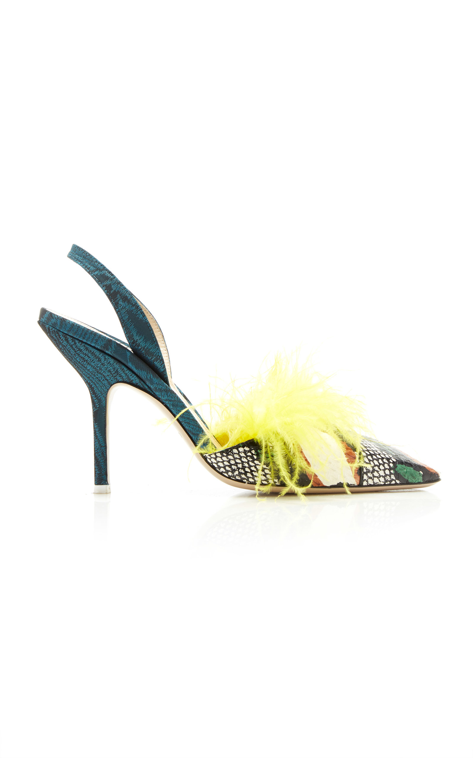 ATTICO Mara Feathered Genuine Snakeskin Slingback Pump in Yellow