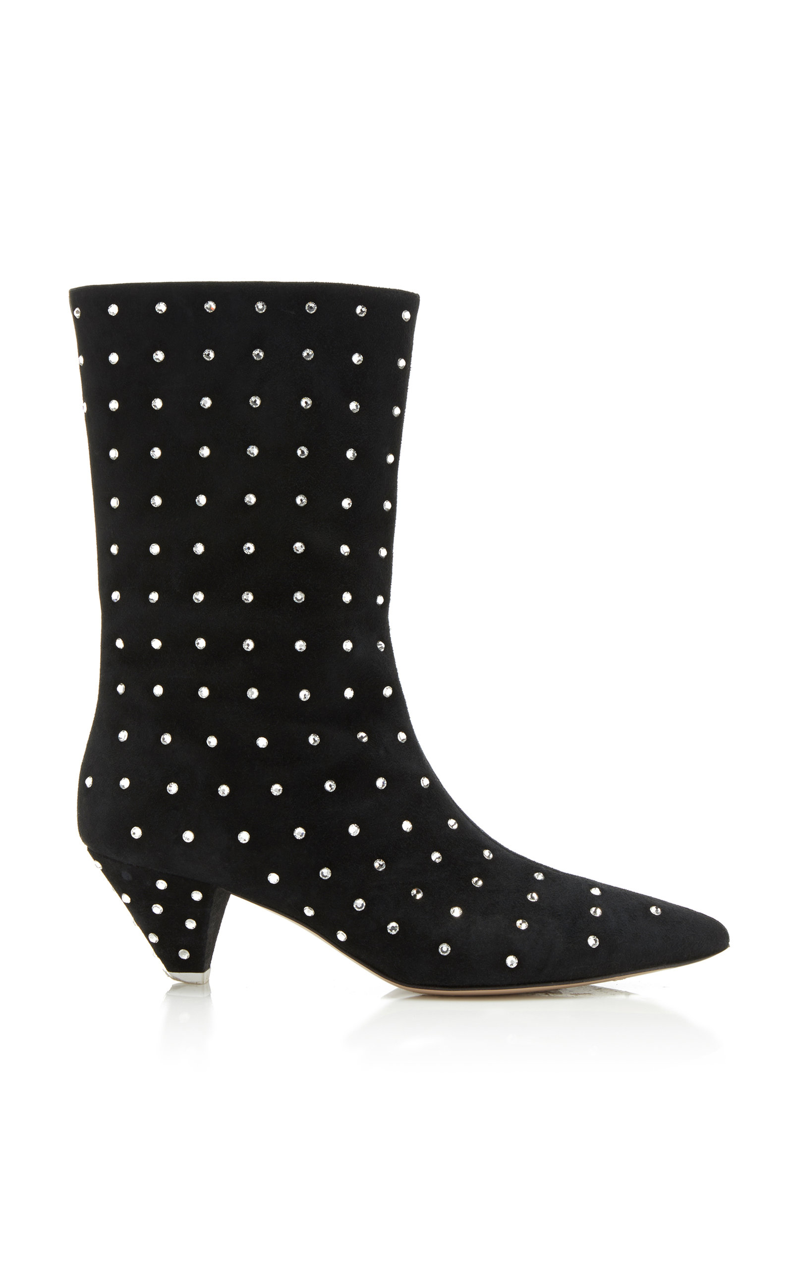 Crystal-Embellished Calf-Length Boots in Black