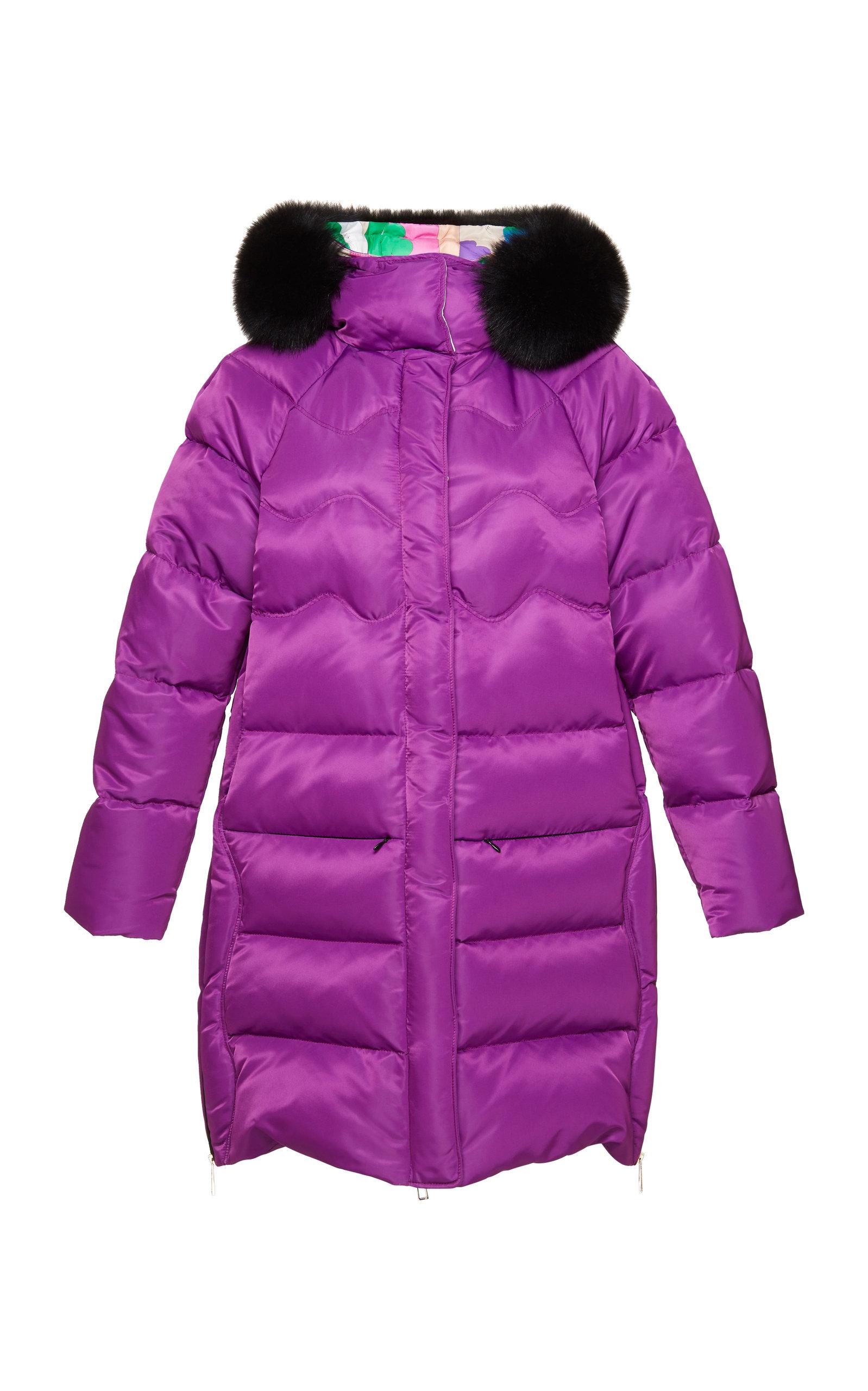 Fur Trimmed Down Coat in Purple
