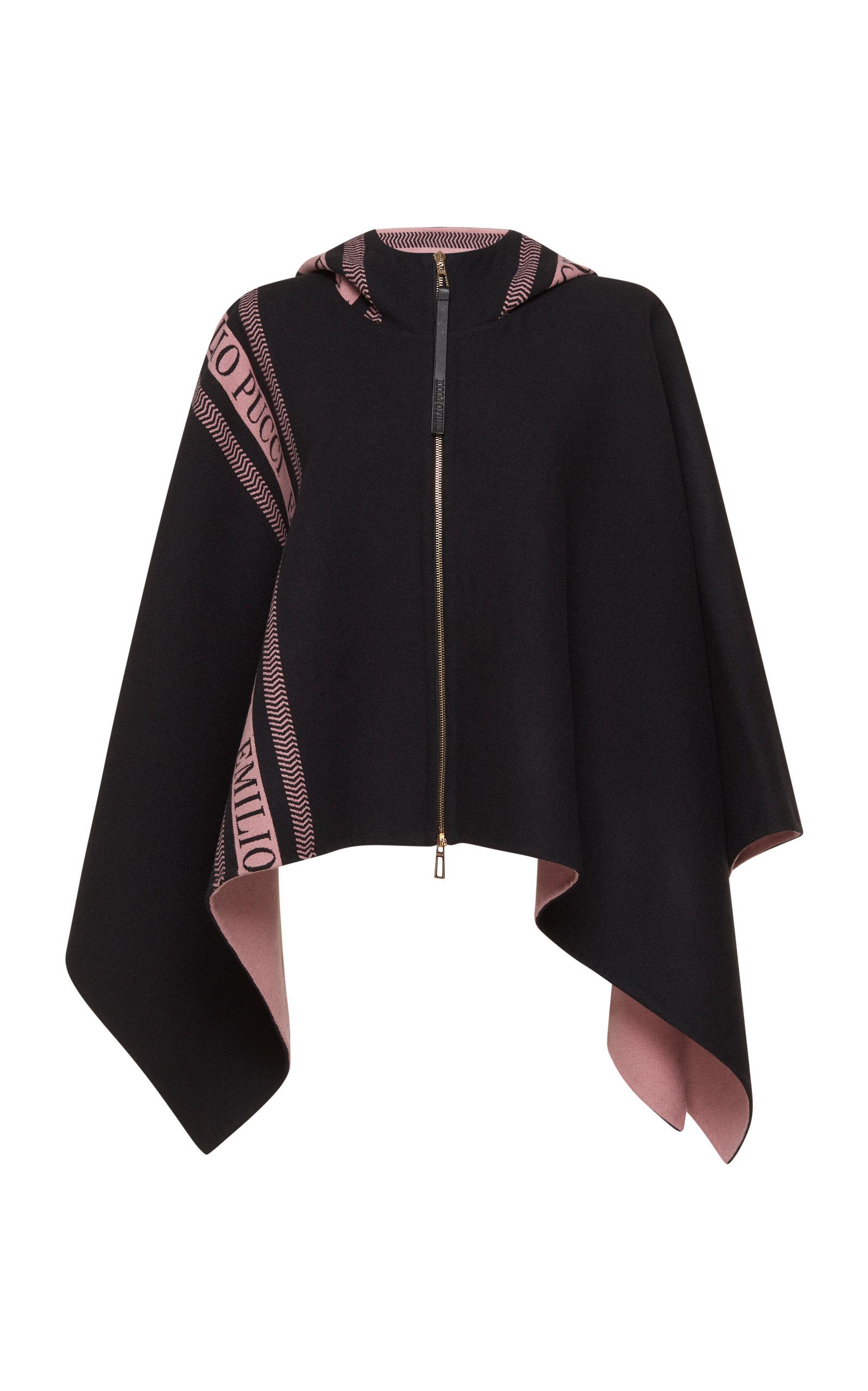 Wool Poncho in Black