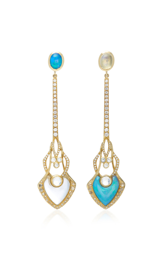ARK18K Gold, Opal And Diamond Earrings