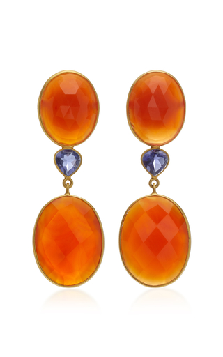 18K Gold Lapis And Carnelian Earrings Bahina FkoXdUHDv