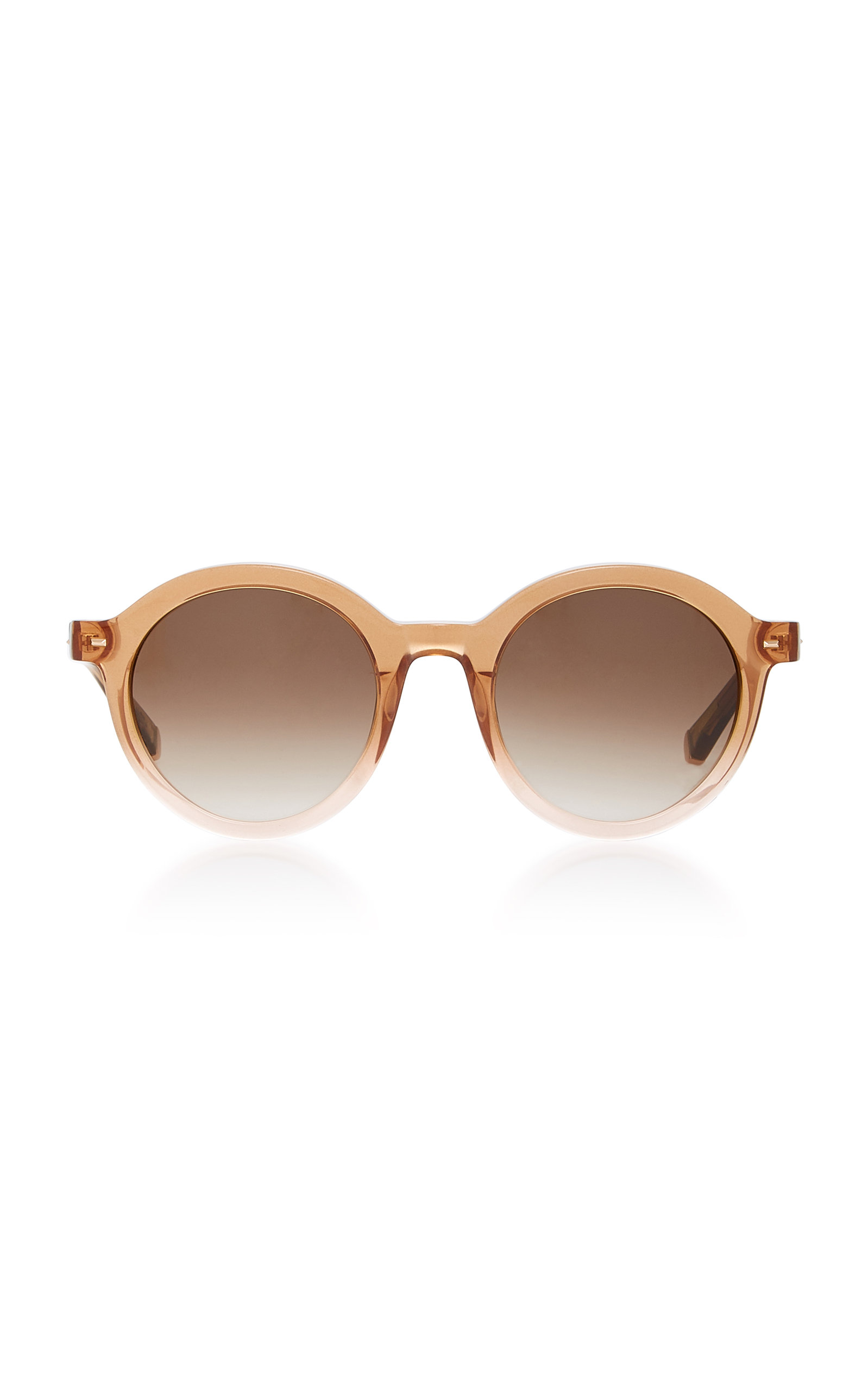 KATE YOUNG Flora Round-Frame Acetate And Metal Sunglasses in Brown