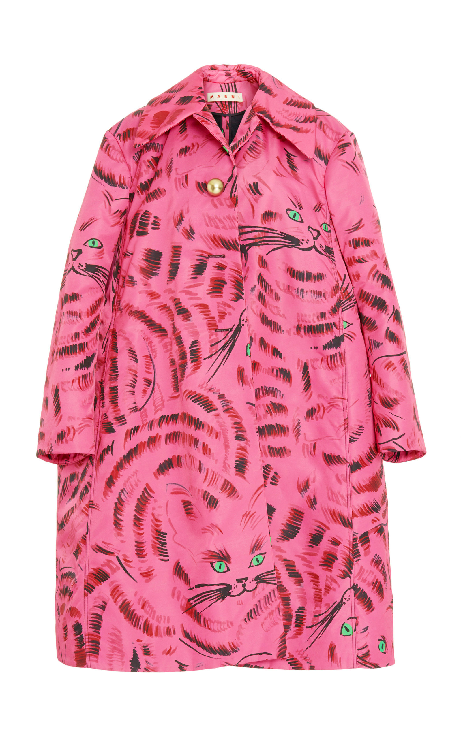 Modesens Breasted Single Coat Print Cat Marni Pink In Oversized wagxAC7q