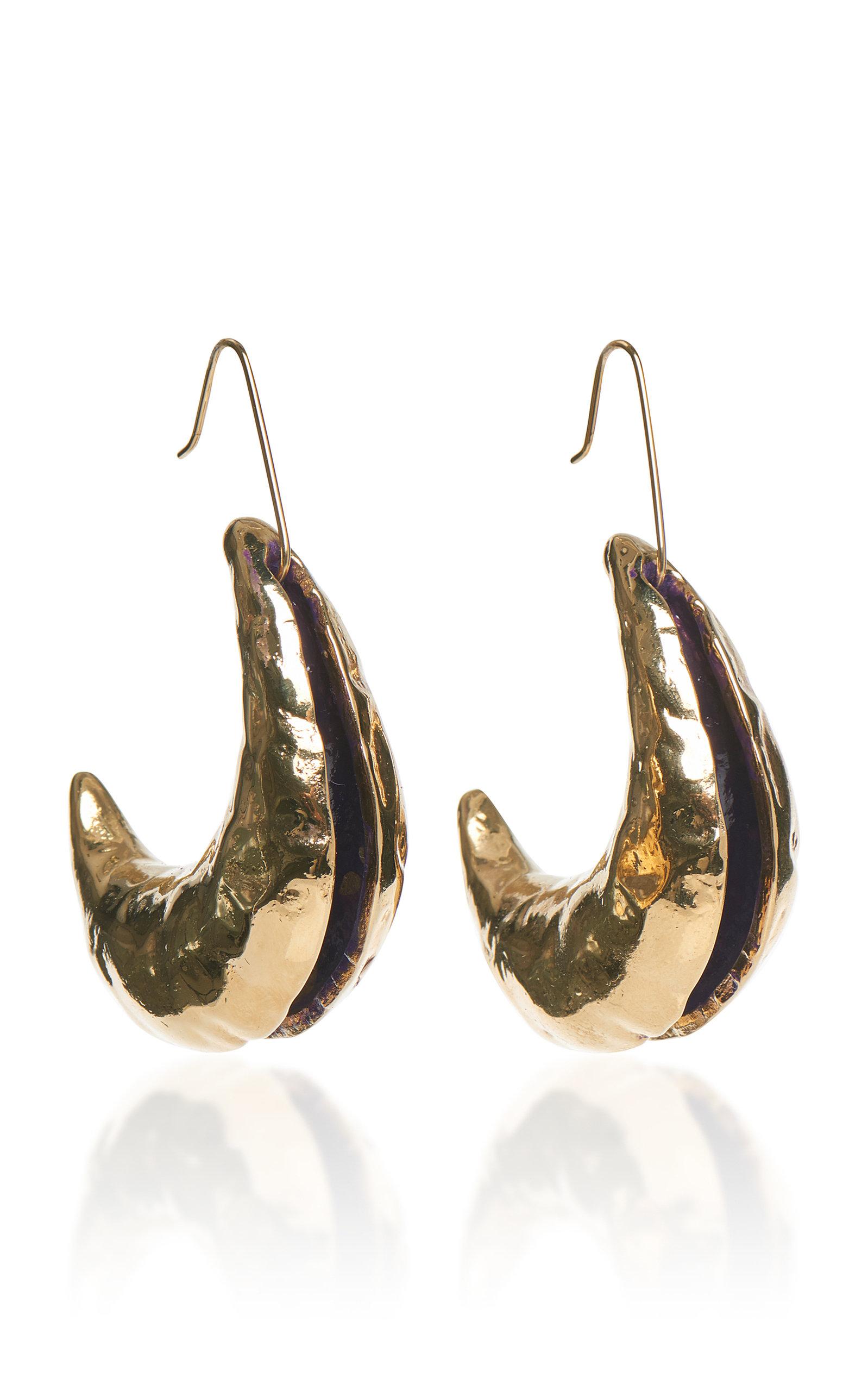 Metal And Enamel Crescent Drop Earrings, Gold