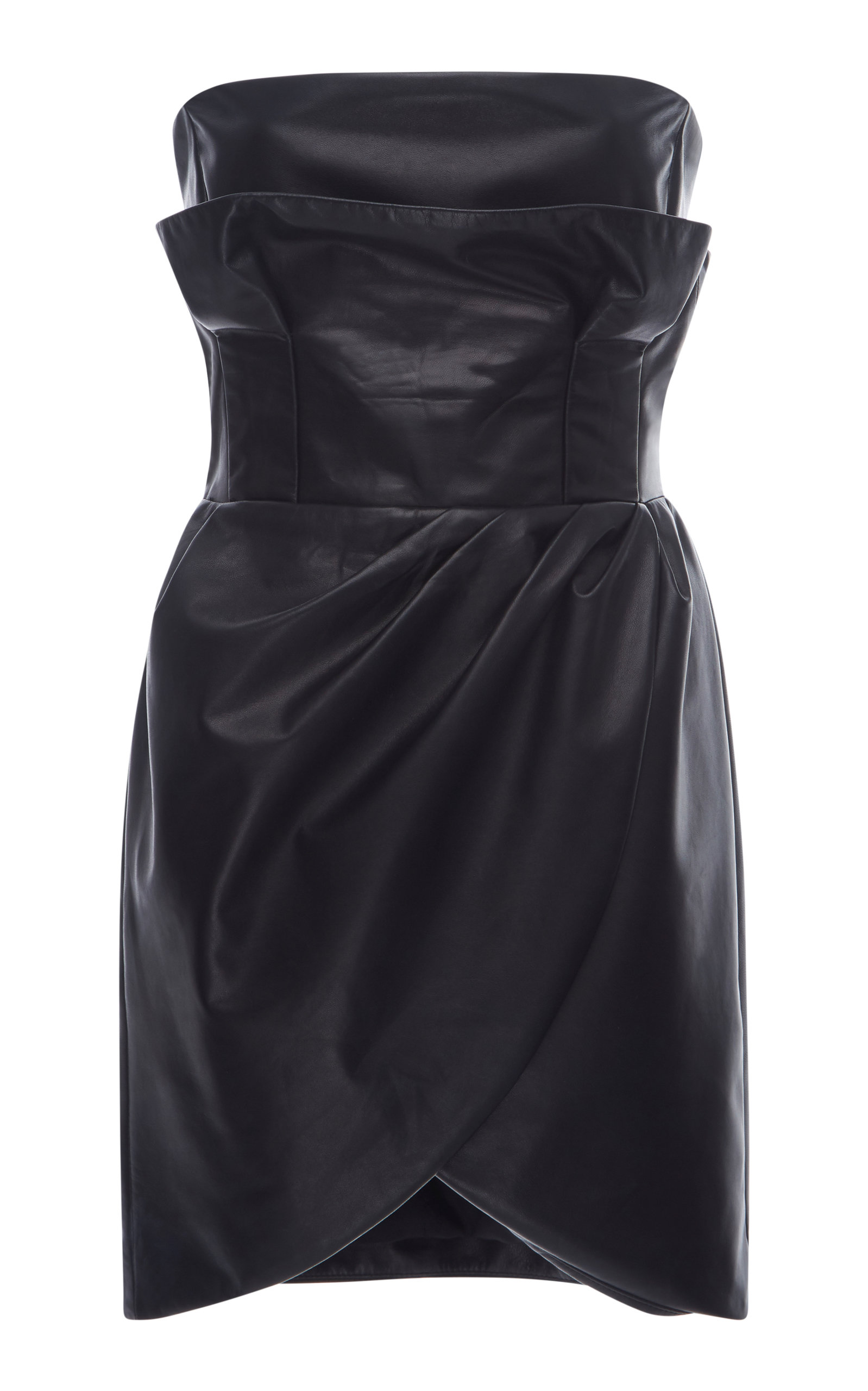 Black Leather Strapless Mini Dress