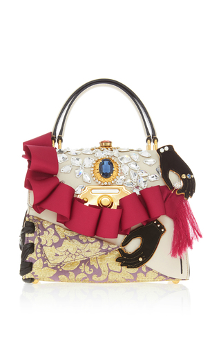 Ruffle Embellished Top Handle Leather Bag By Dolce Moda