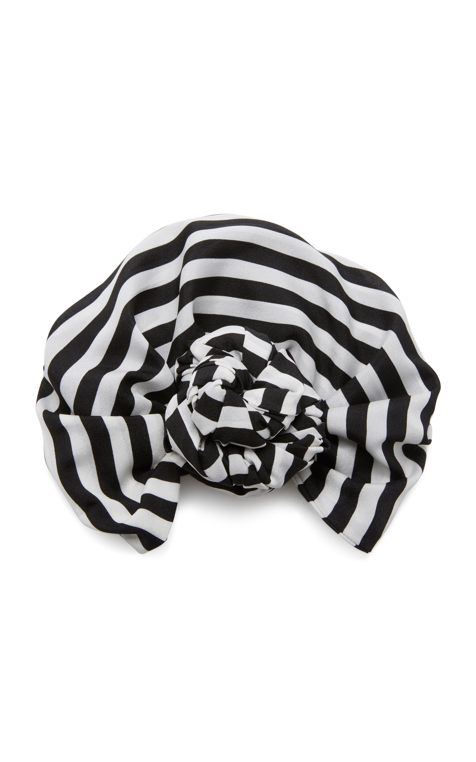 JULIA CLANCEY M'O Exclusive Edith Striped Satin Headwrap in Black/White