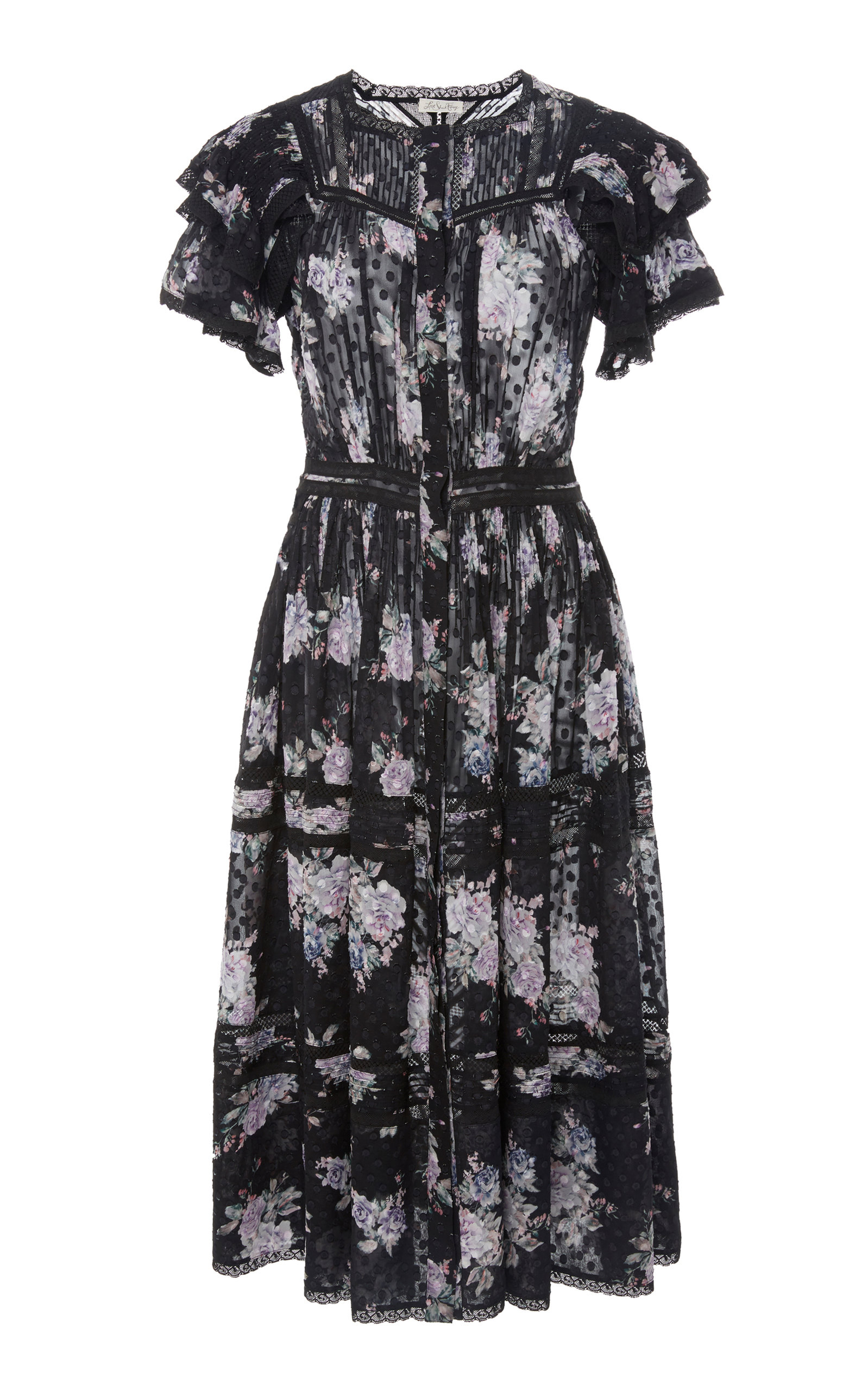 LOVESHACKFANCY Claribel Floral Silk Lace Midi Dress in Black