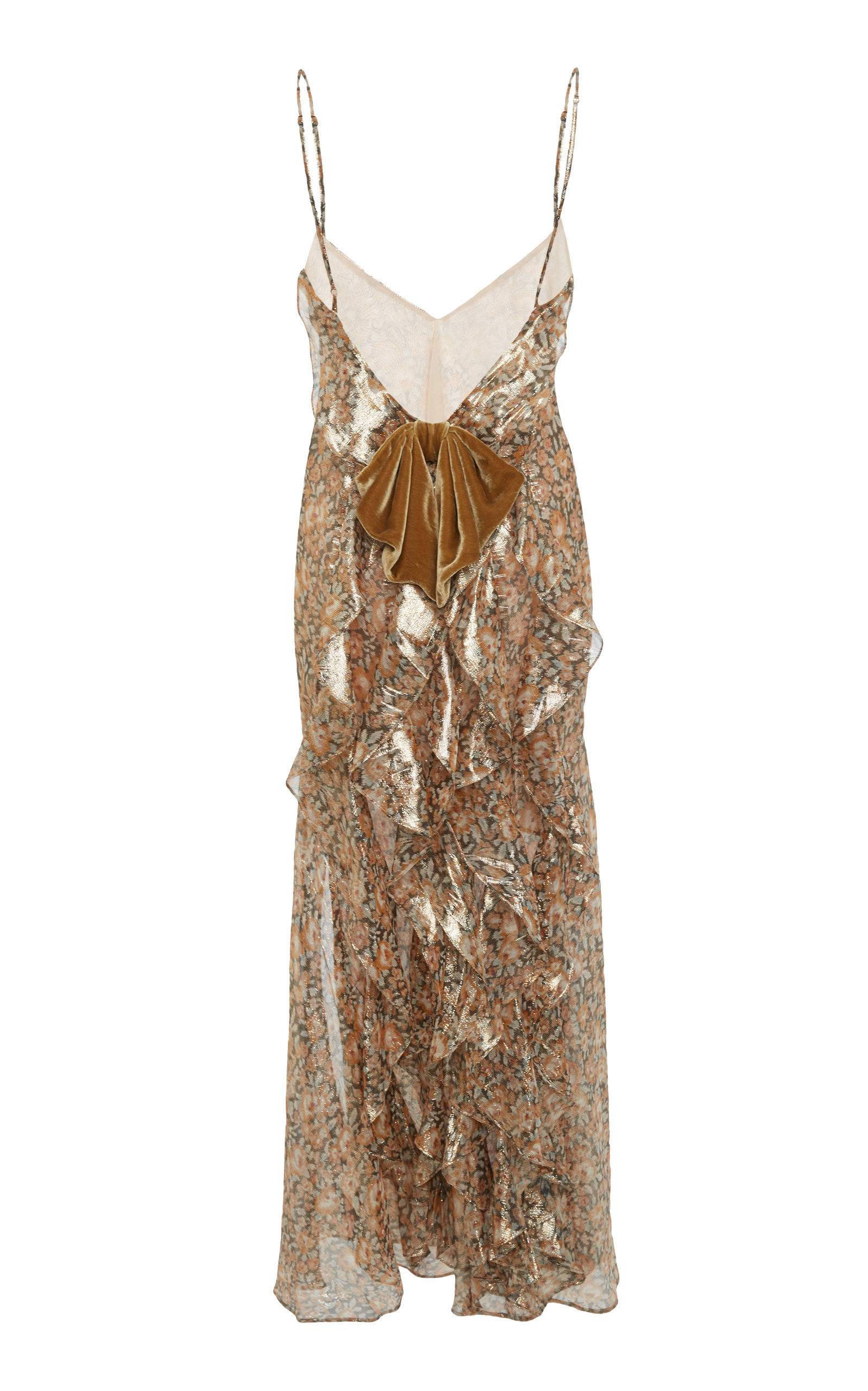 4409e80cc3533 Ruffle Metallic Slip Dress by LoveShackFancy | Moda Operandi