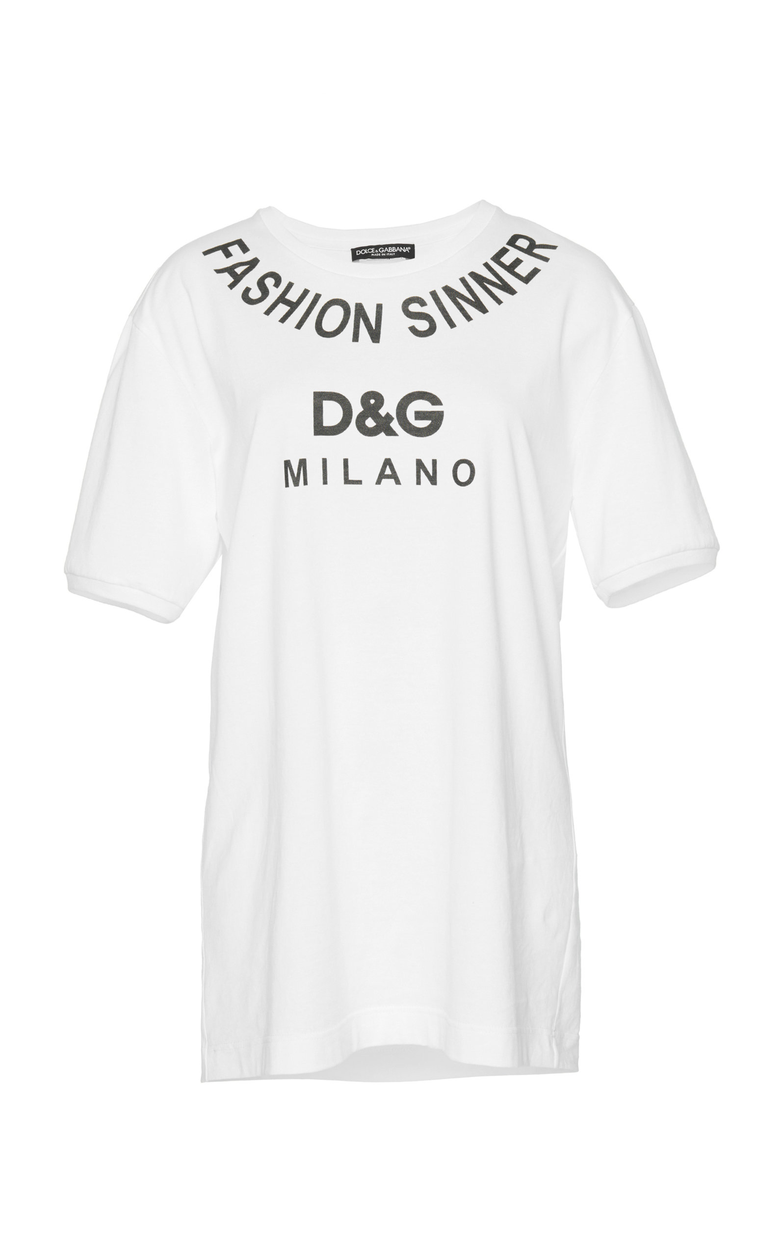 DOLCE & GABBANA Fashion Sinner Printed Jersey T-Shirt, White