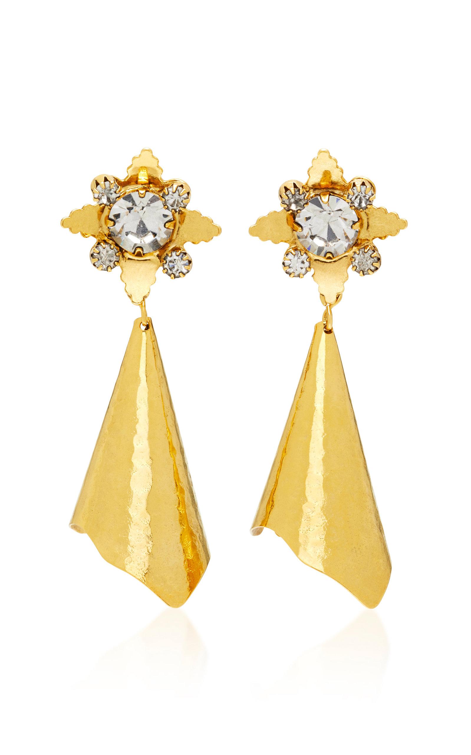 NICOLE ROMANO WALKER GOLD-PLATED BRASS CRYSTAL EARRINGS