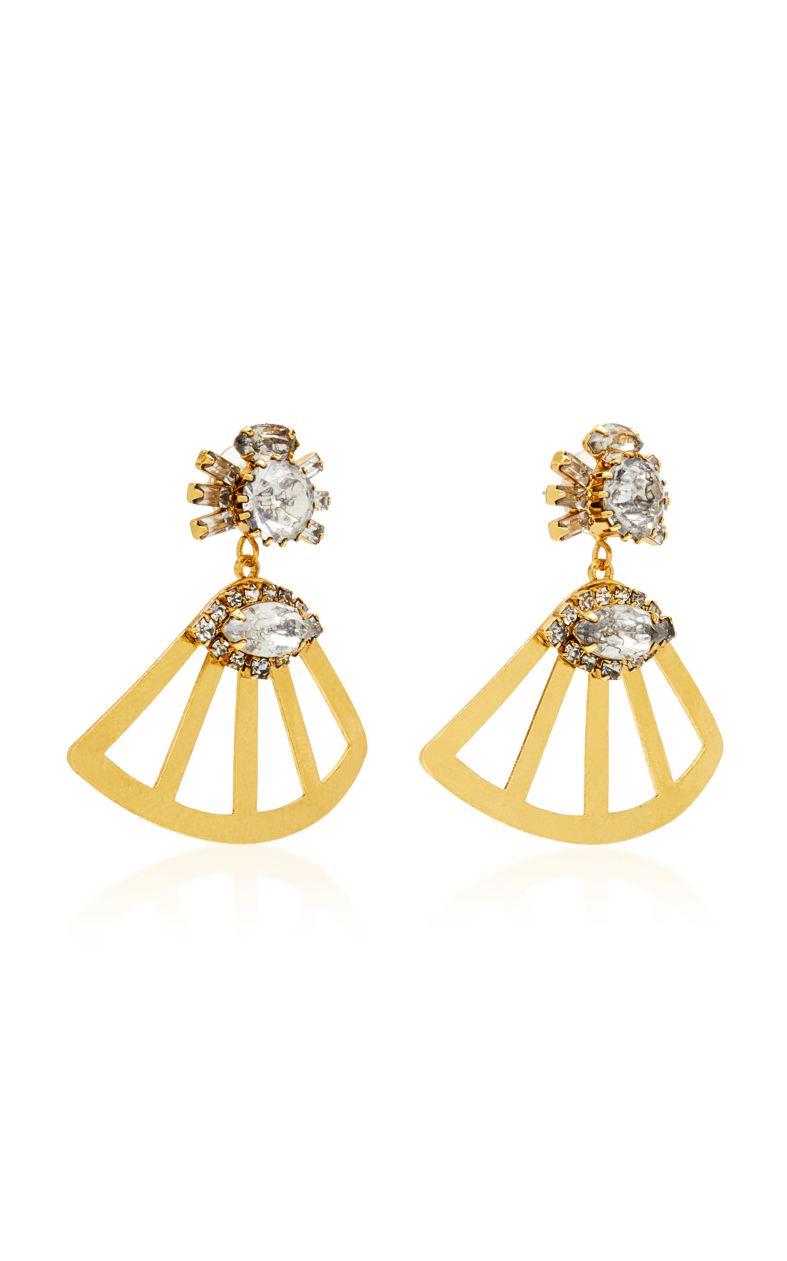 Fanned Lotus 18K Gold-Plated Crystal Earrings Nicole Romano 99FpVRiMlx