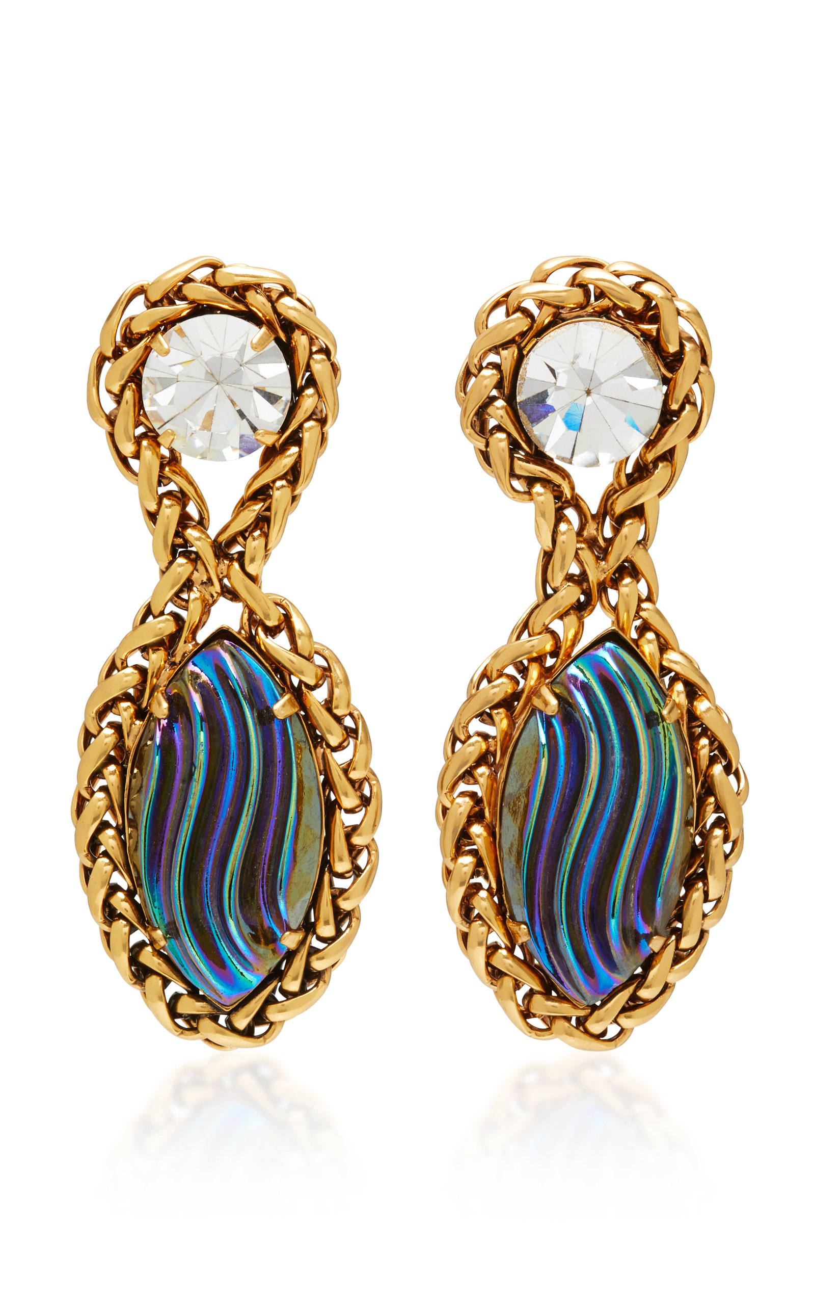 NICOLE ROMANO PALMER 18K GOLD PLATED CHAIN AND GLASS EARRINGS