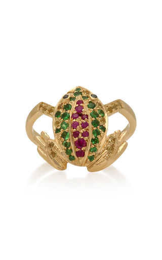 DONNA HOURANI | Donna Hourani Frog 18K Gold Diamond and Sapphire Ring | Goxip