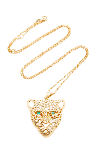 DONNA HOURANI | Donna Hourani 18K Gold and Emerald Leopard Pendant Necklace | Goxip