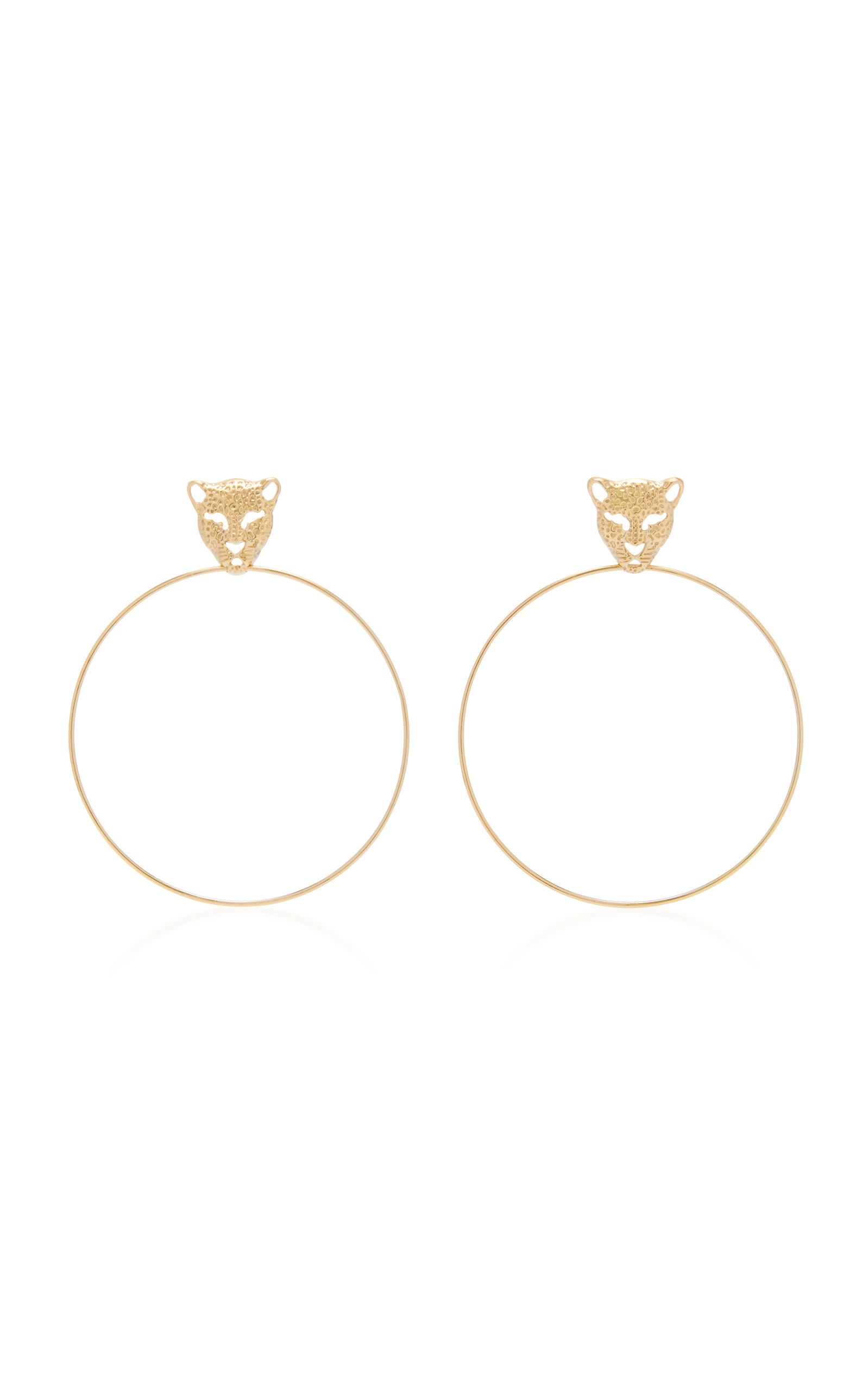 DONNA HOURANI 18K GOLD LEOPARD EARRINGS