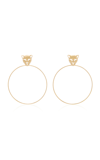 DONNA HOURANI   Donna Hourani 18K Gold Leopard Earrings   Goxip