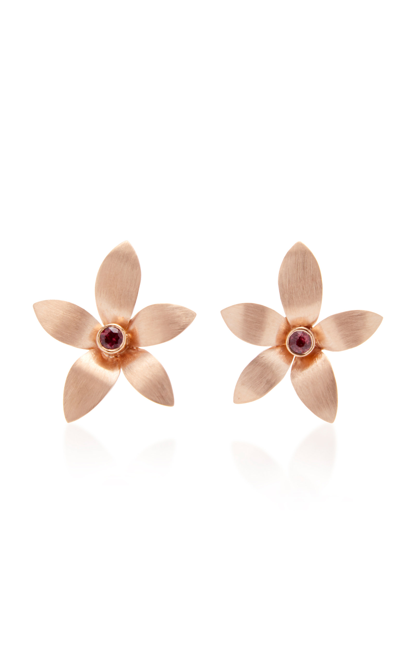 DONNA HOURANI 18K GOLD TOURMALINE ORCHID EARRINGS