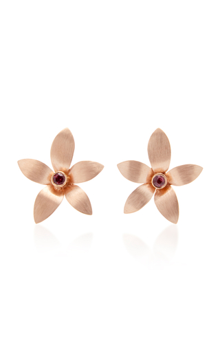 DONNA HOURANI | Donna Hourani 18K Gold Tourmaline Orchid Earrings | Goxip