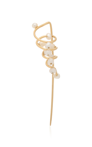 DONNA HOURANI | Donna Hourani Dew on Tendril-Coil 18K Gold and Pearl Earrings | Goxip