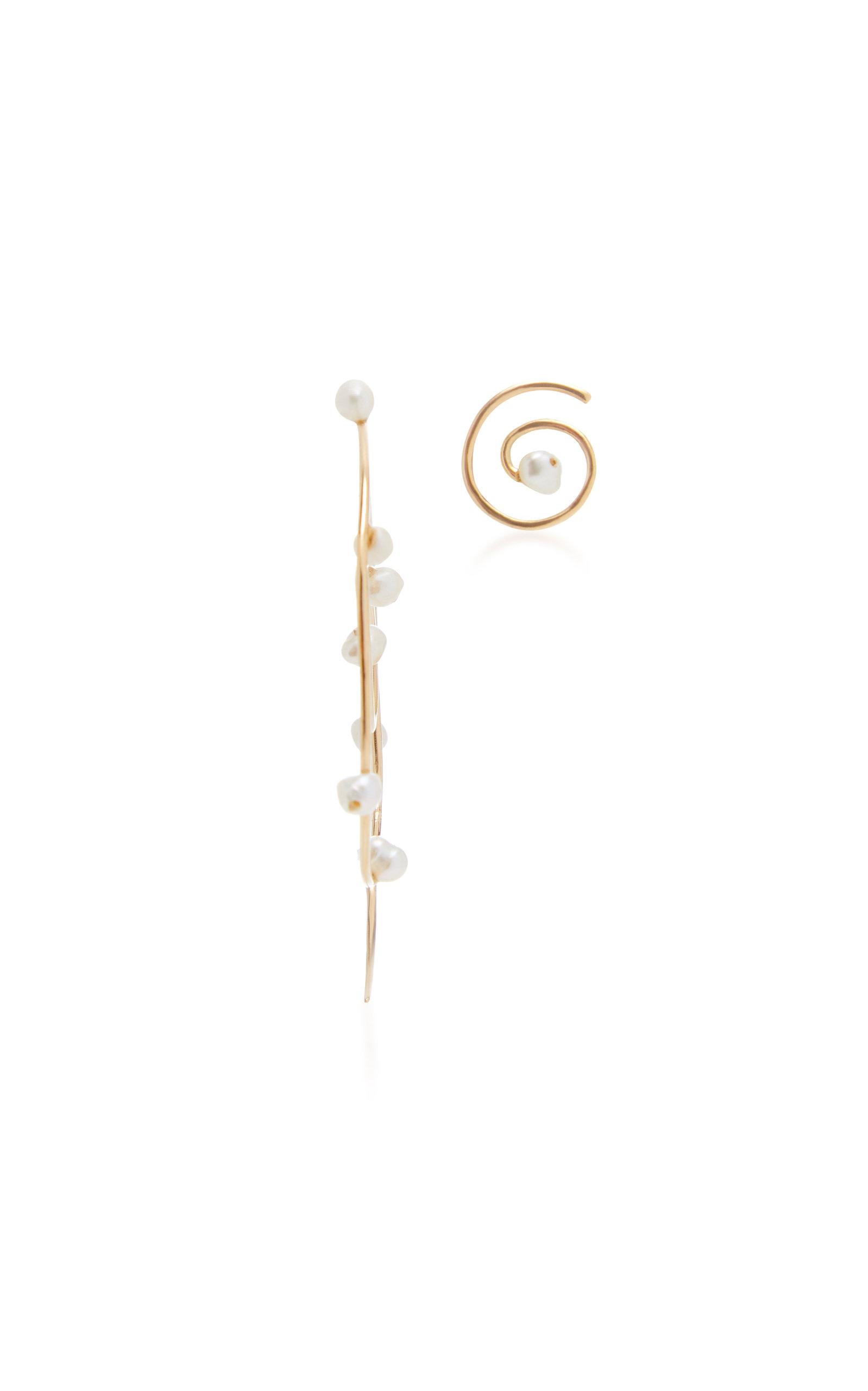 DONNA HOURANI DEW ON TENDRIL SPIRAL 18K GOLD PEARL EARRINGS