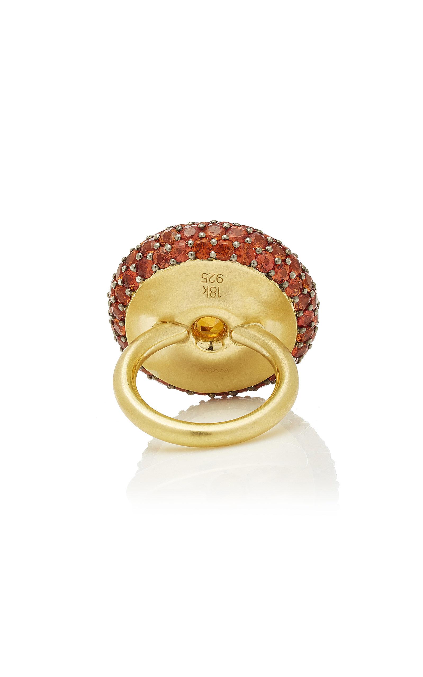 One Of A Kind Natural Orange Zircon And Sapphire Ring Moda Operandi Yellow