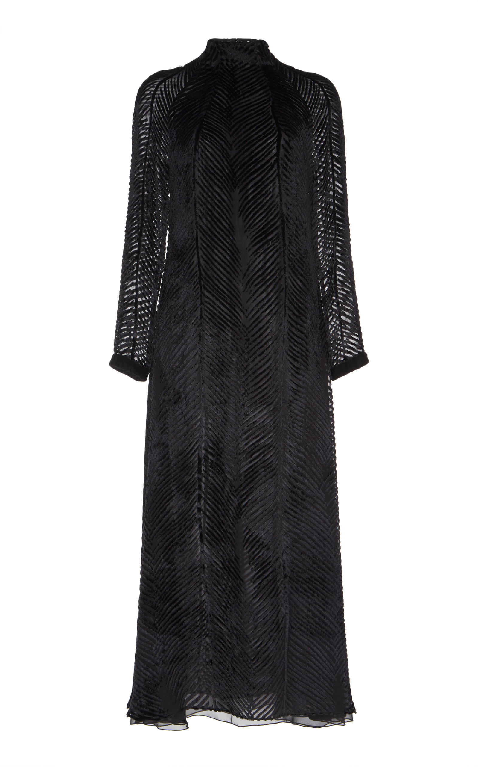 SANDRA MANSOUR Mousseline Velvet Midi Dress in Black