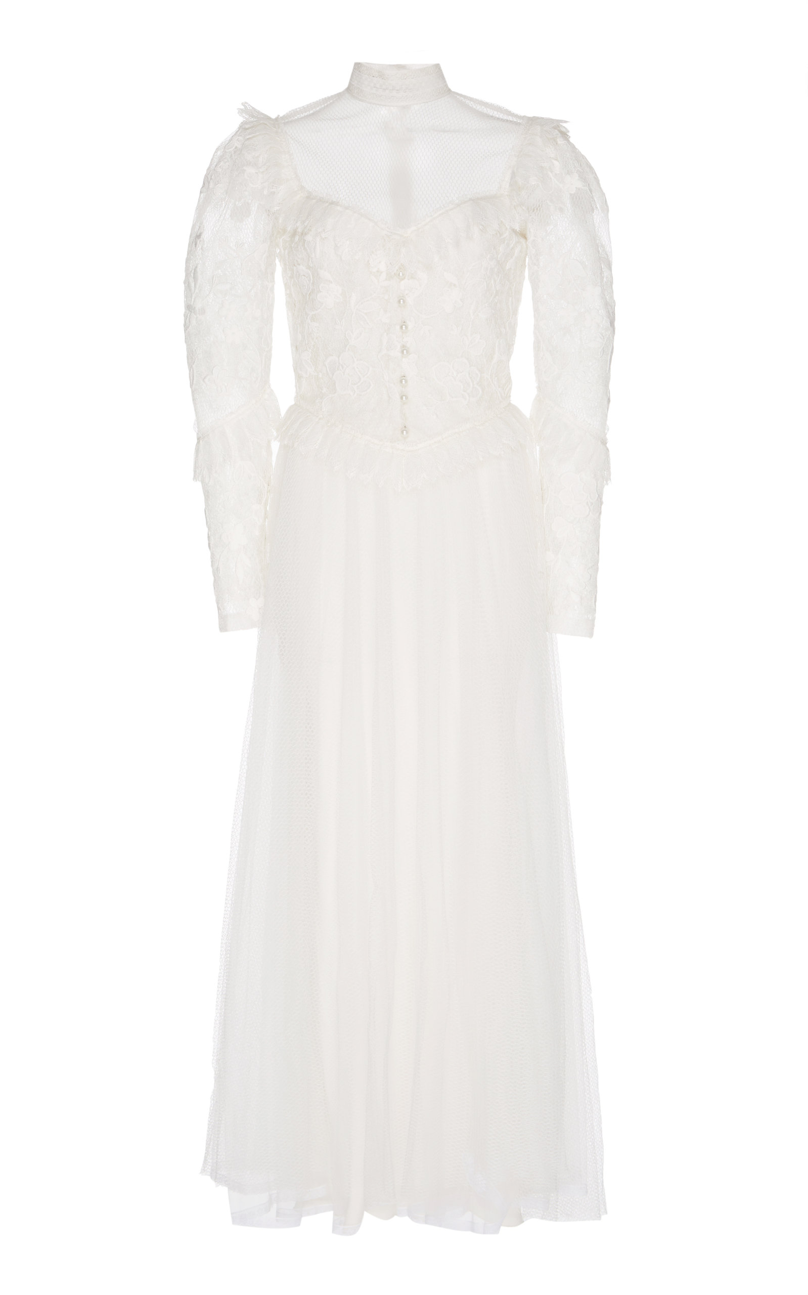 SANDRA MANSOUR Lace Embroidered Midi Dress in White
