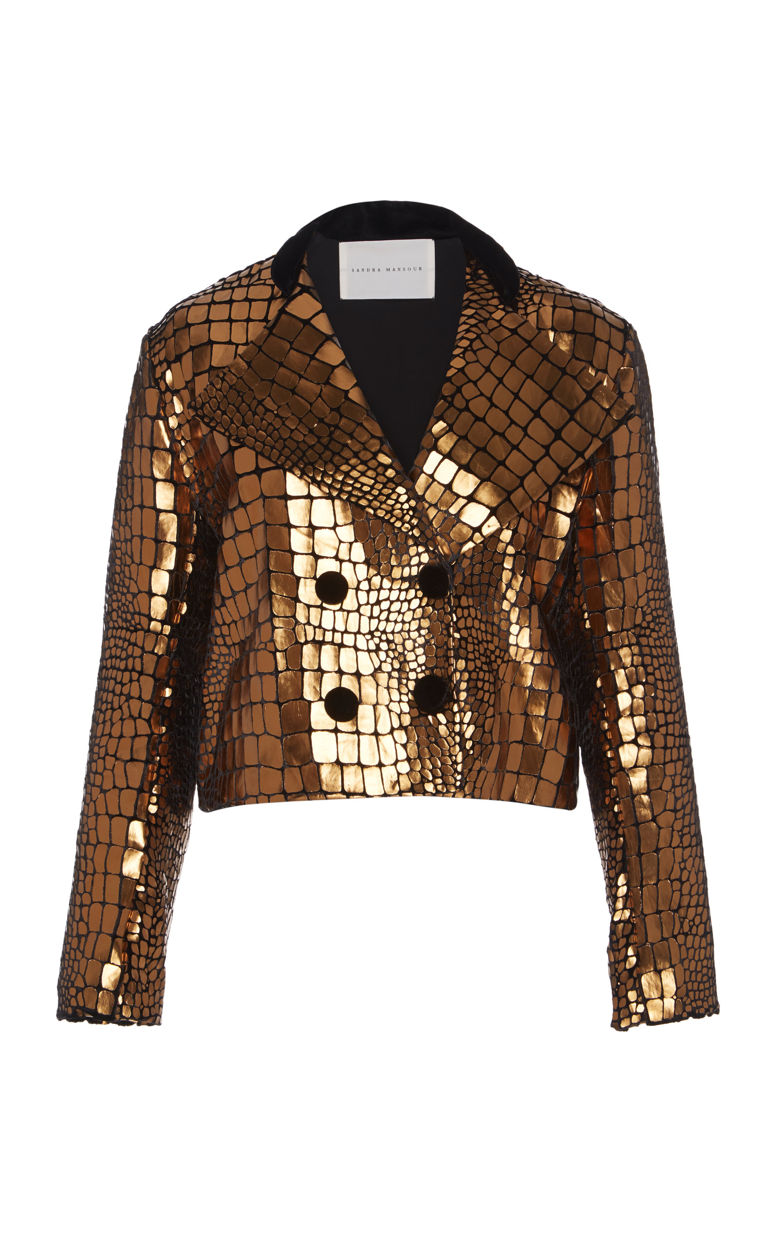 SANDRA MANSOUR Serpent Pleather Velvet Cropped Jacket in Gold