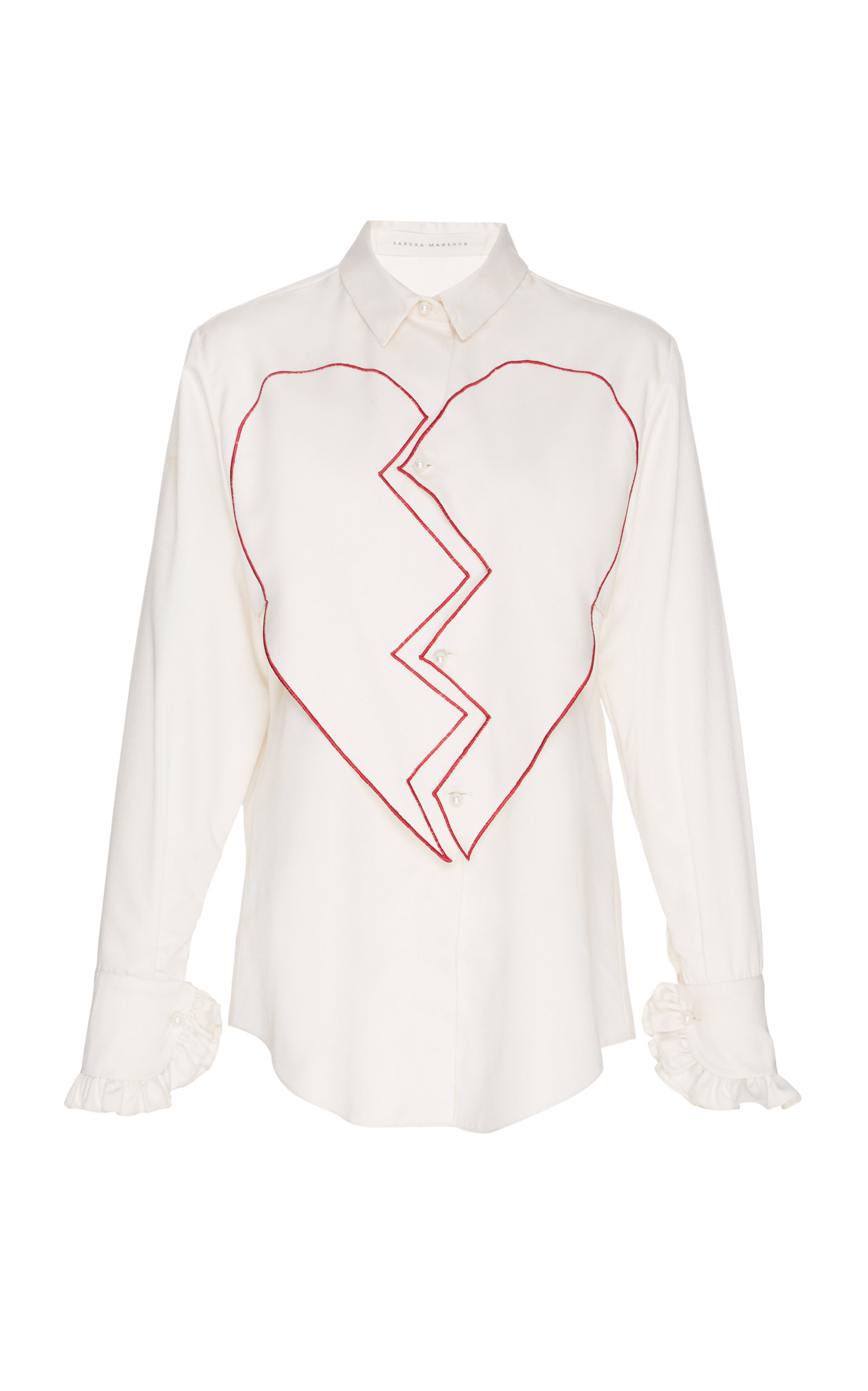 SANDRA MANSOUR Satin Cotton Heart Embroidered Shirt in White