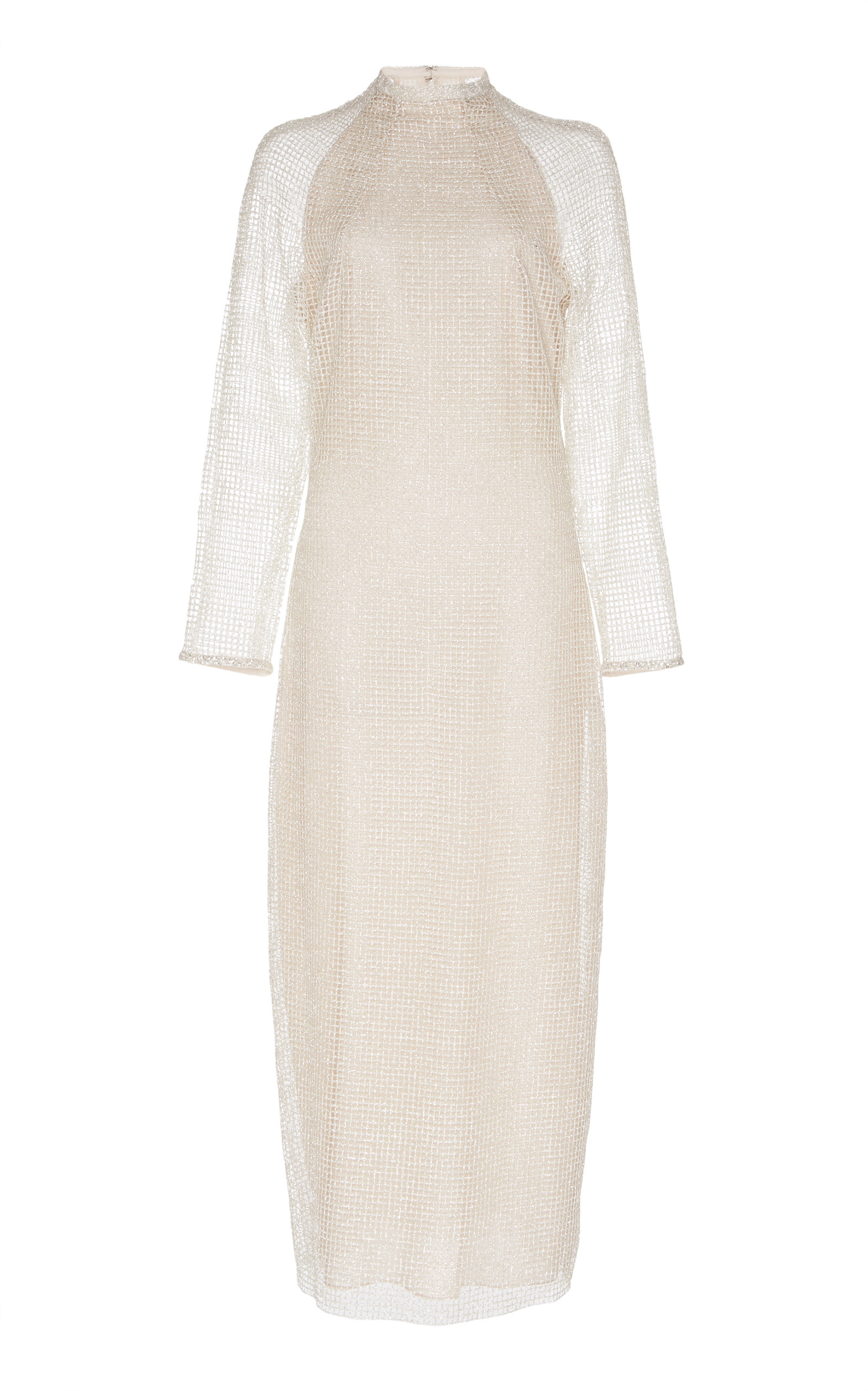 SANDRA MANSOUR Cheval Glitter Midi Dress in Neutral