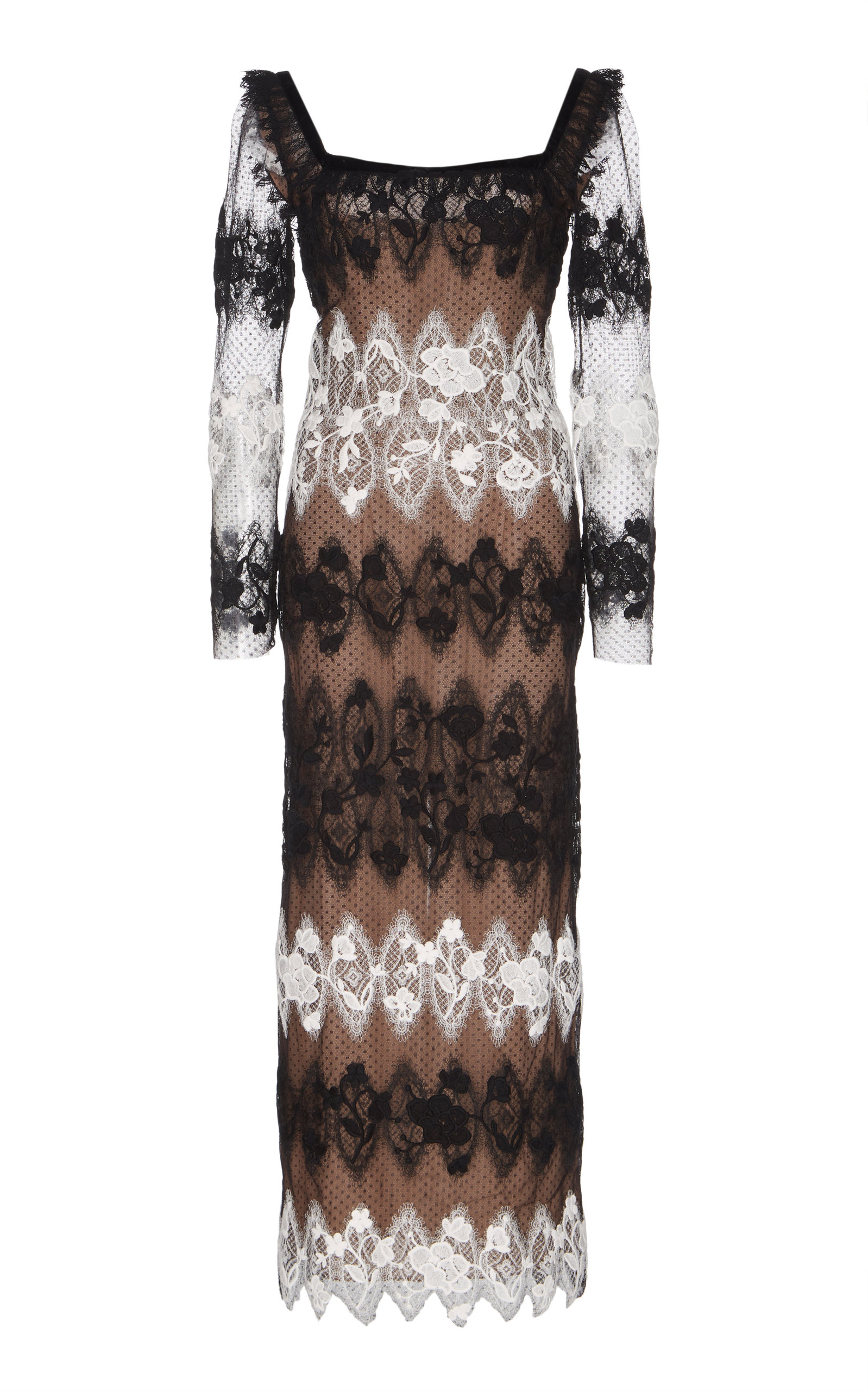 SANDRA MANSOUR Perle Lace Embroidered Midi Dress in Black/White