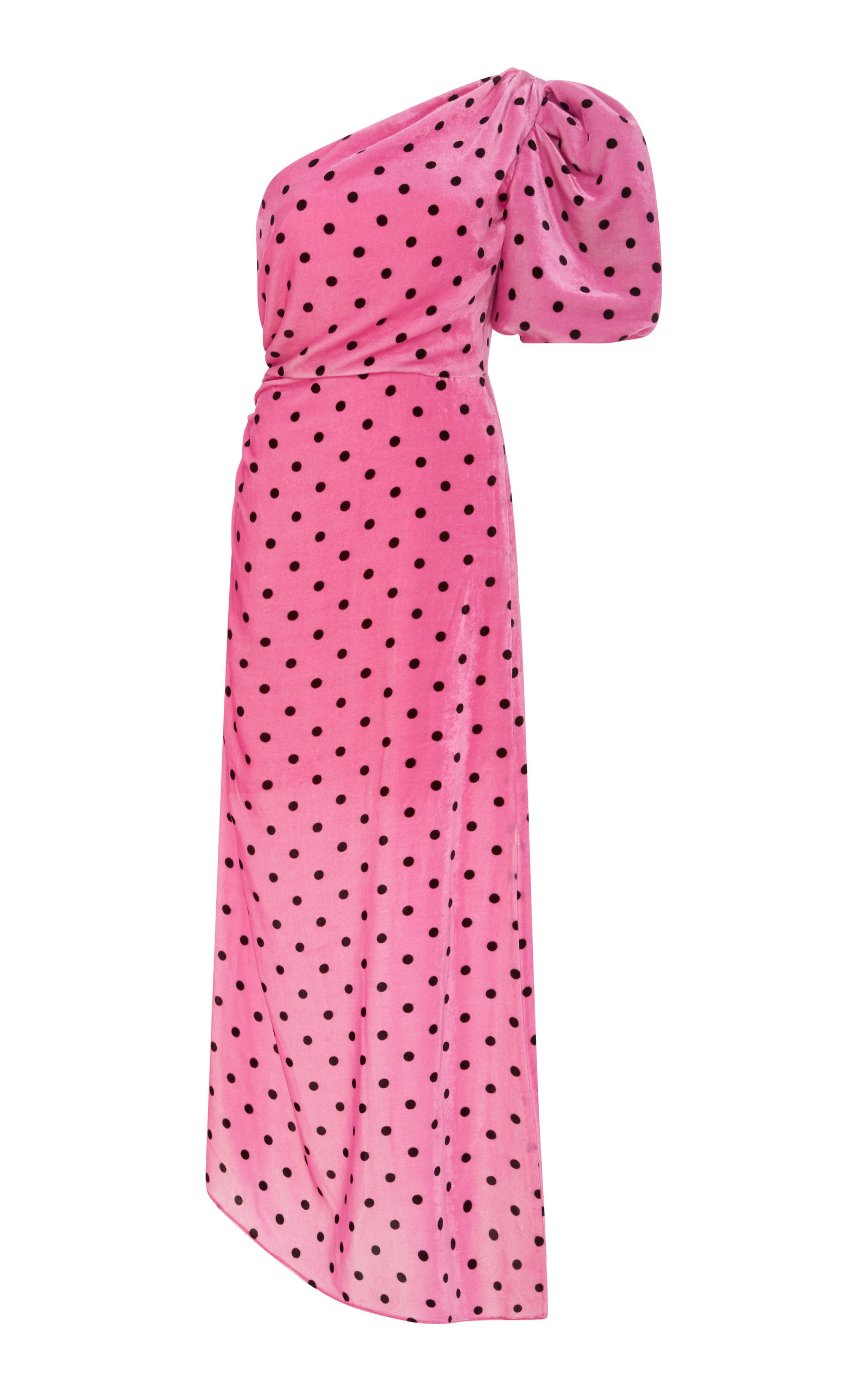 MONET ONE-SHOULDER POLKA-DOT SATIN MIDI DRESS