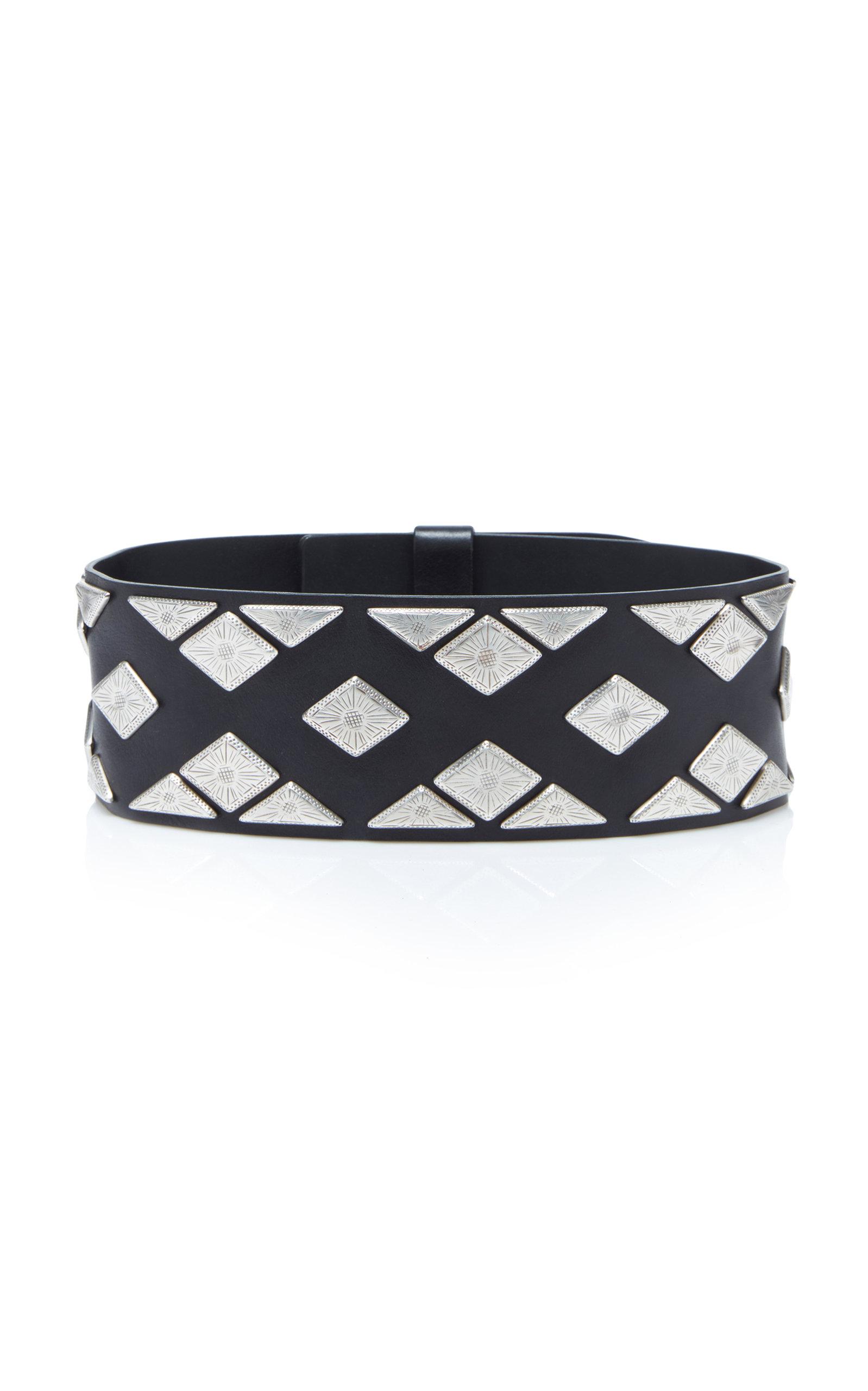 Zony Embellished Leather Waist Belt, Black