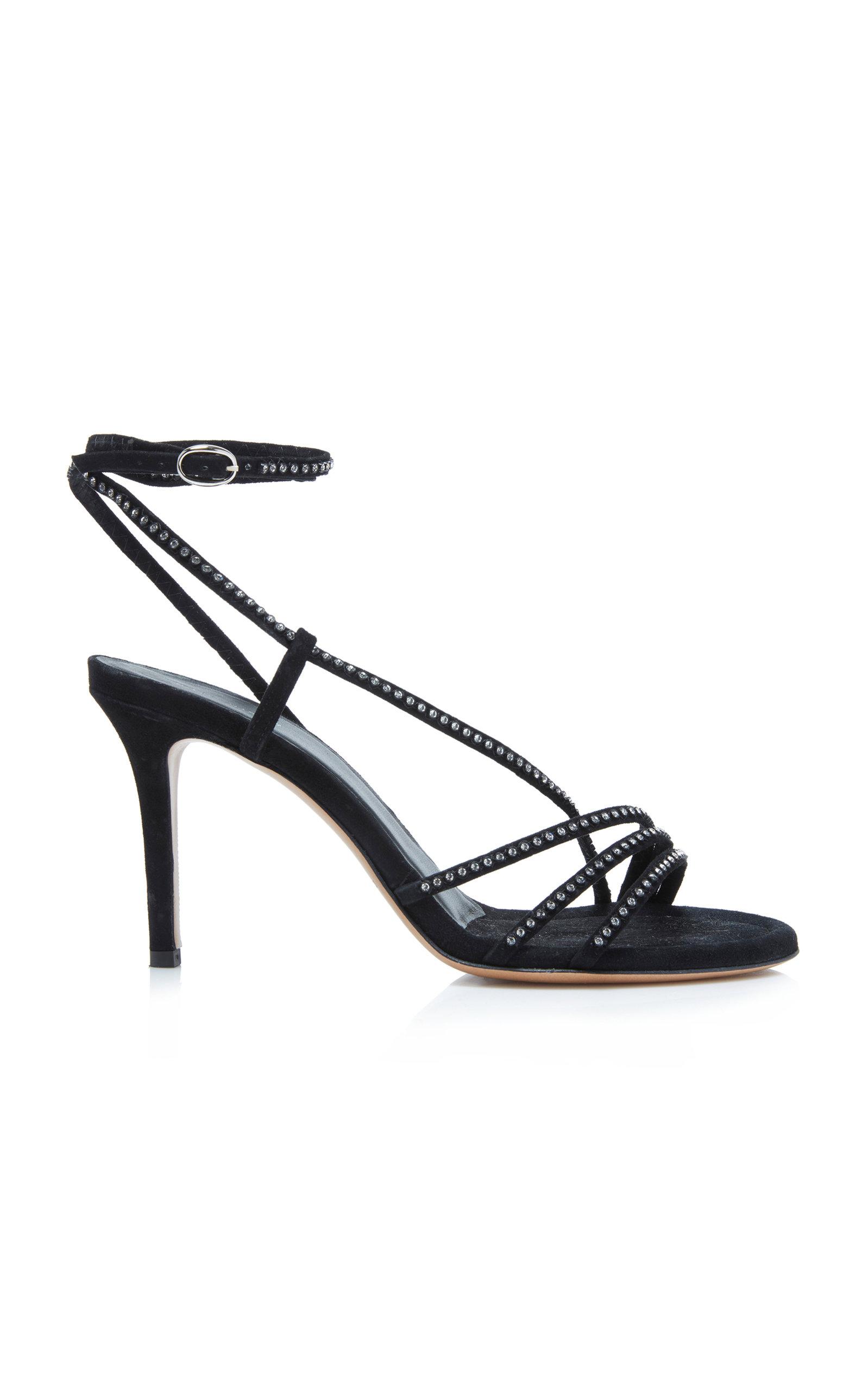Amspee Crystal-Embellished Suede Sandals in Black