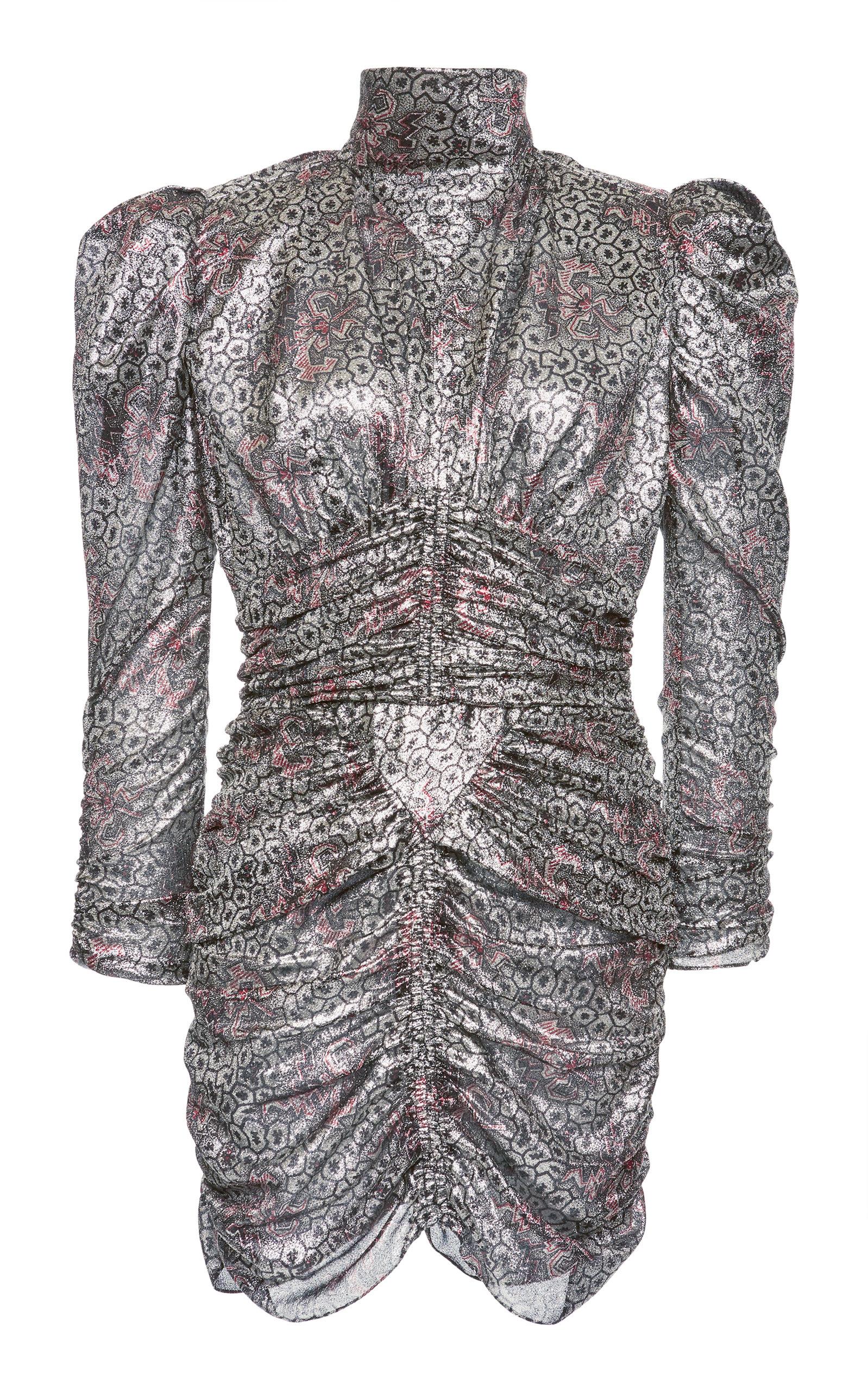 Pandor Ruched Printed Silk-Blend Lamé Mini Dress in Silver