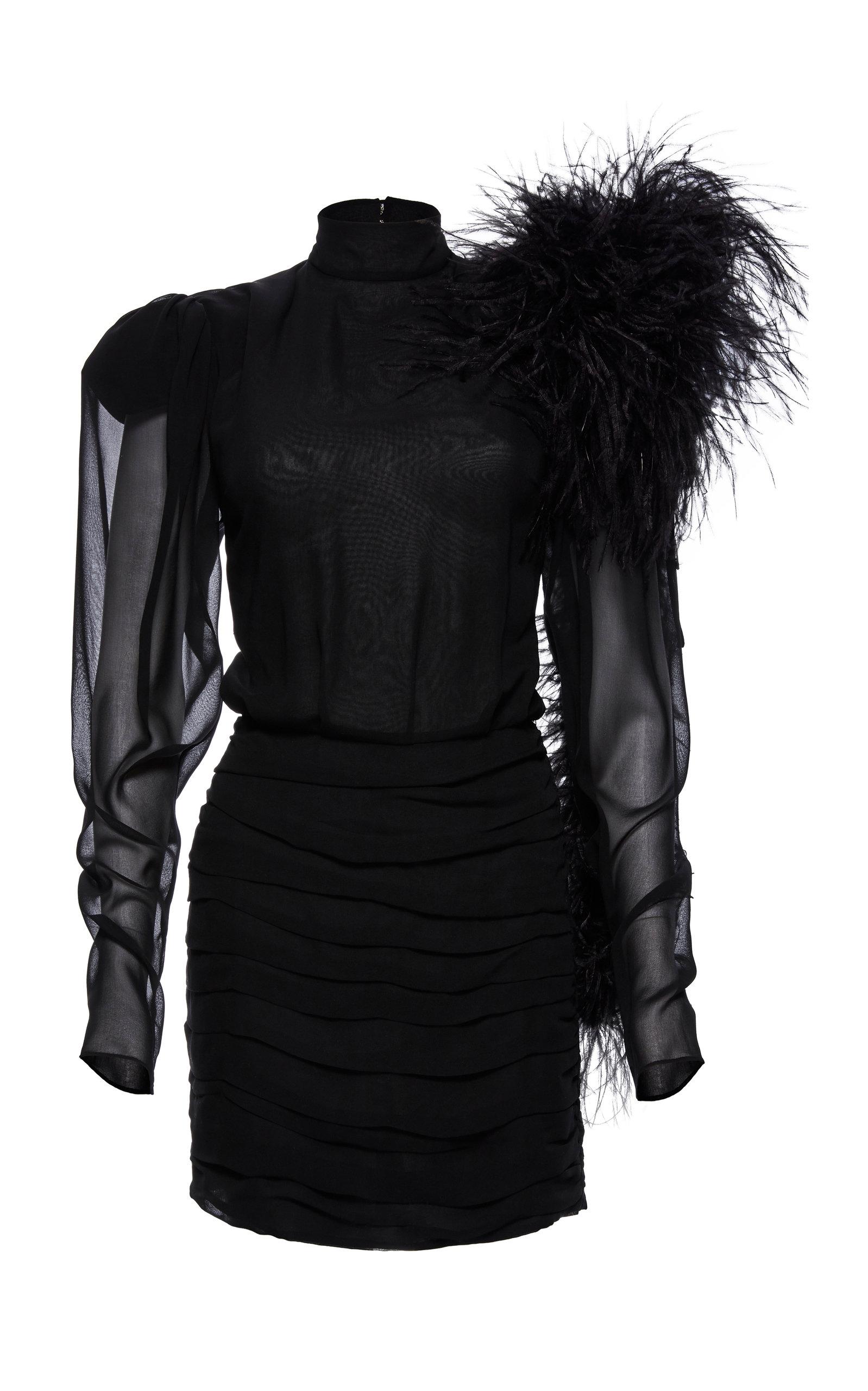Dubai Feather-Embellished Silk-Chiffon Mini Dress in Black